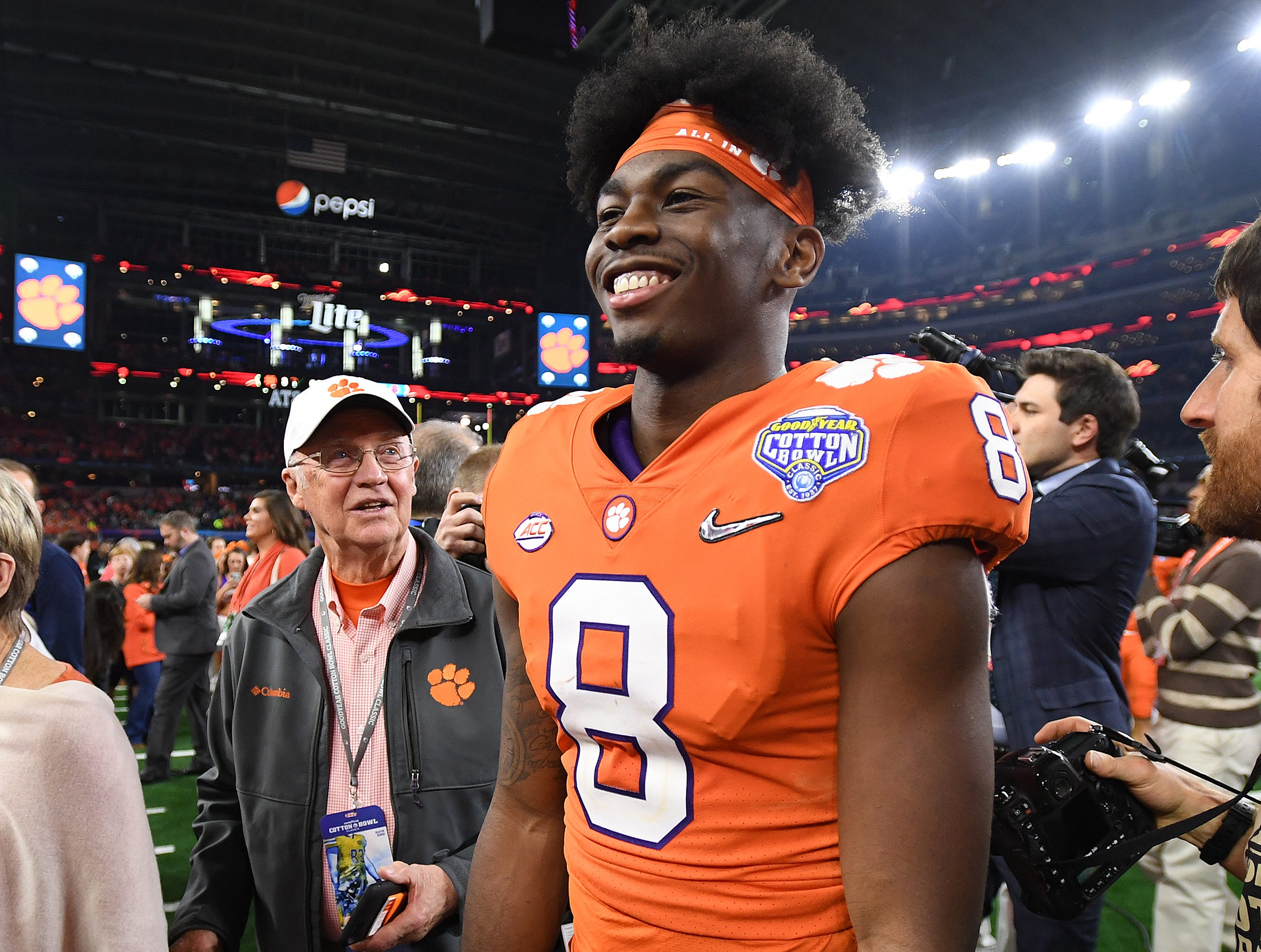 Clemson wide receiver Justyn Ross (8) after the Tigers 30-3 win over Notre Dame in the Goodyear Cotton Bowl at AT&T stadium in Arlington, TX Saturday, December 29, 2018.