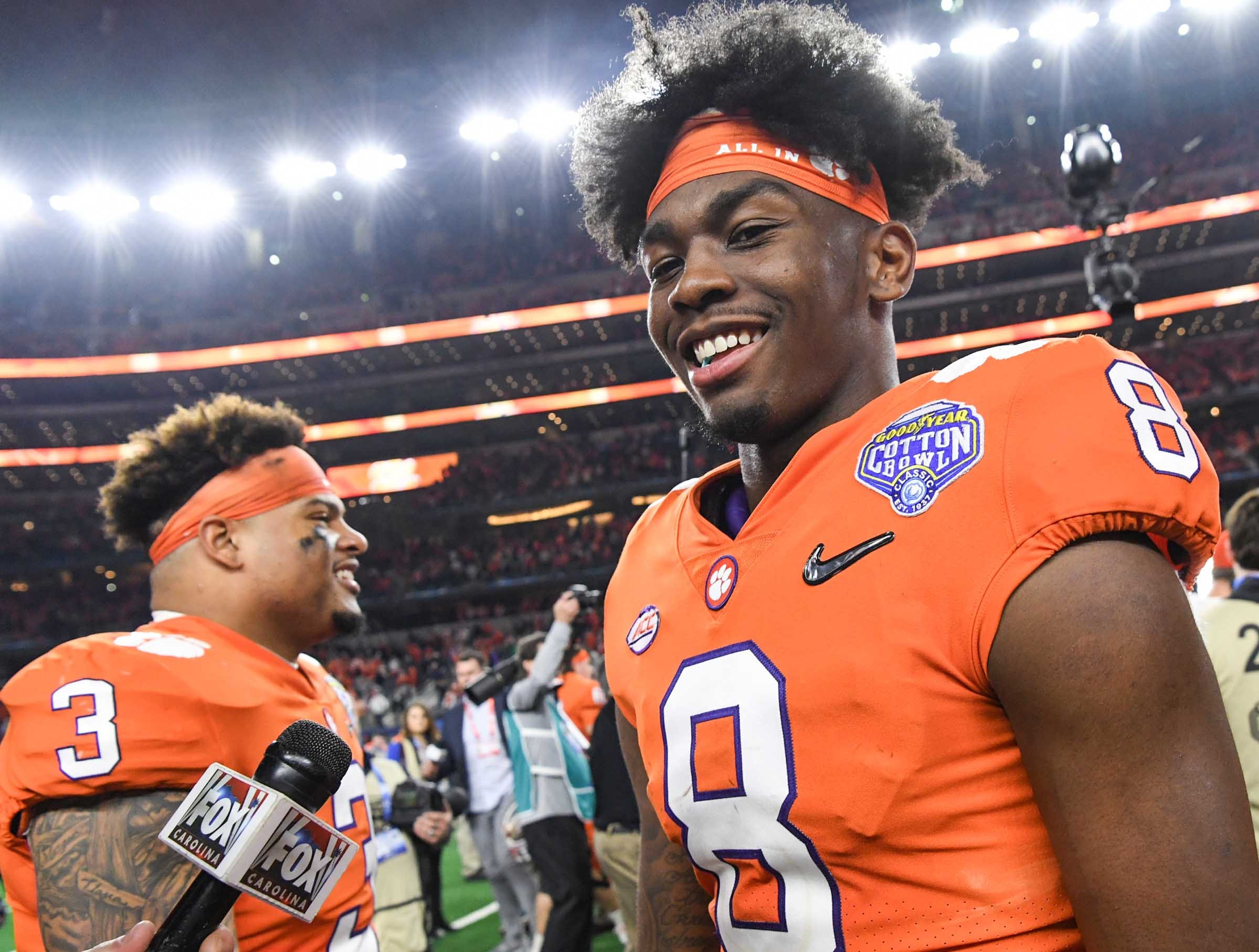 Clemson wide receiver Justyn Ross (8) after the College Football Playoff Semifinal 30-3 win over Notre Dame at the Goodyear Cotton Bowl Classic at AT&T Stadium in Arlington, Texas Saturday, December 29, 2018.