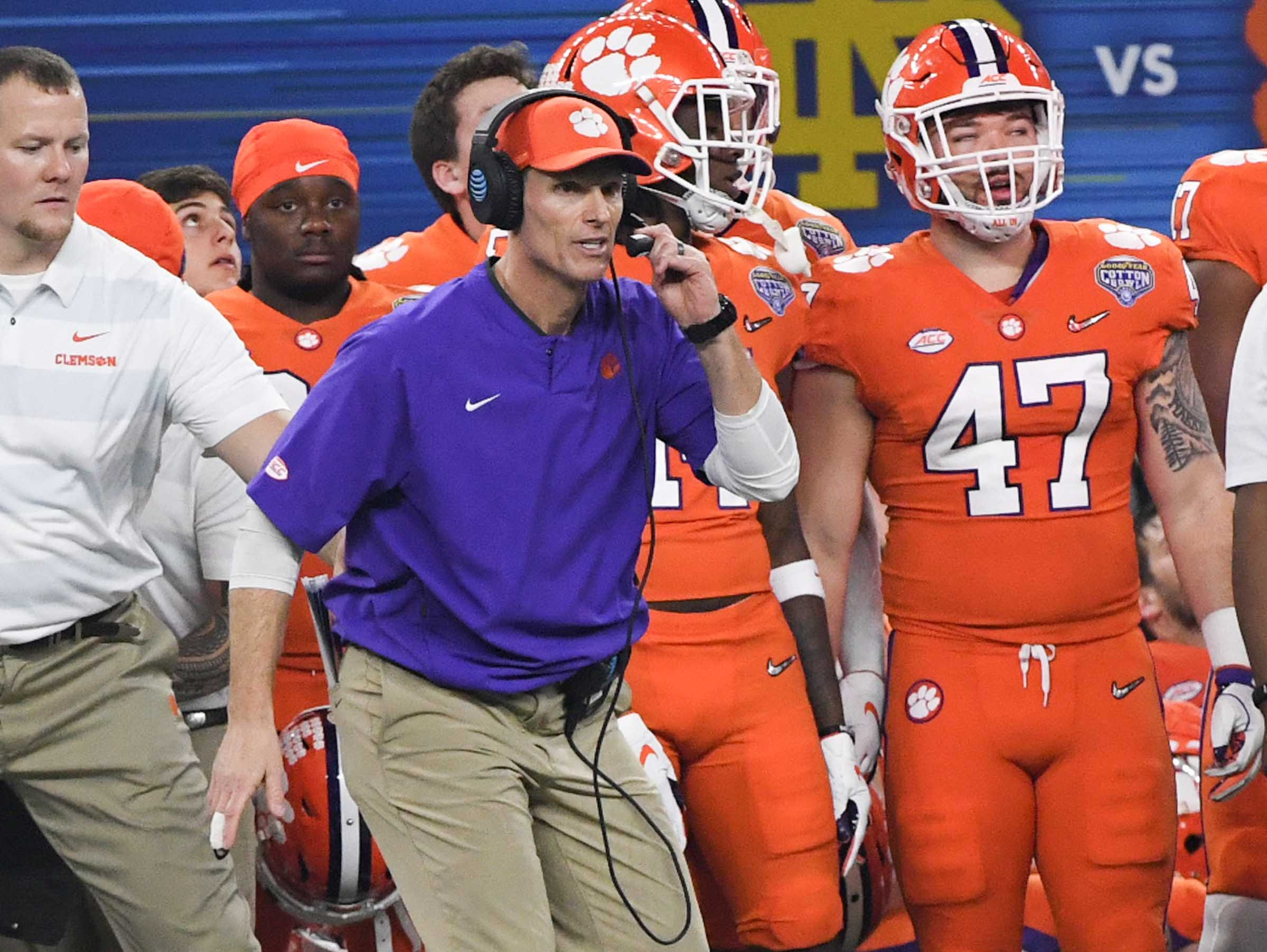 Clemson Defensive Coordinator Brent Venables during the fourth quarter of the College Football Playoff Semifinal at the Goodyear Cotton Bowl Classic at AT&T Stadium in Arlington, Texas Saturday, December 29, 2018.