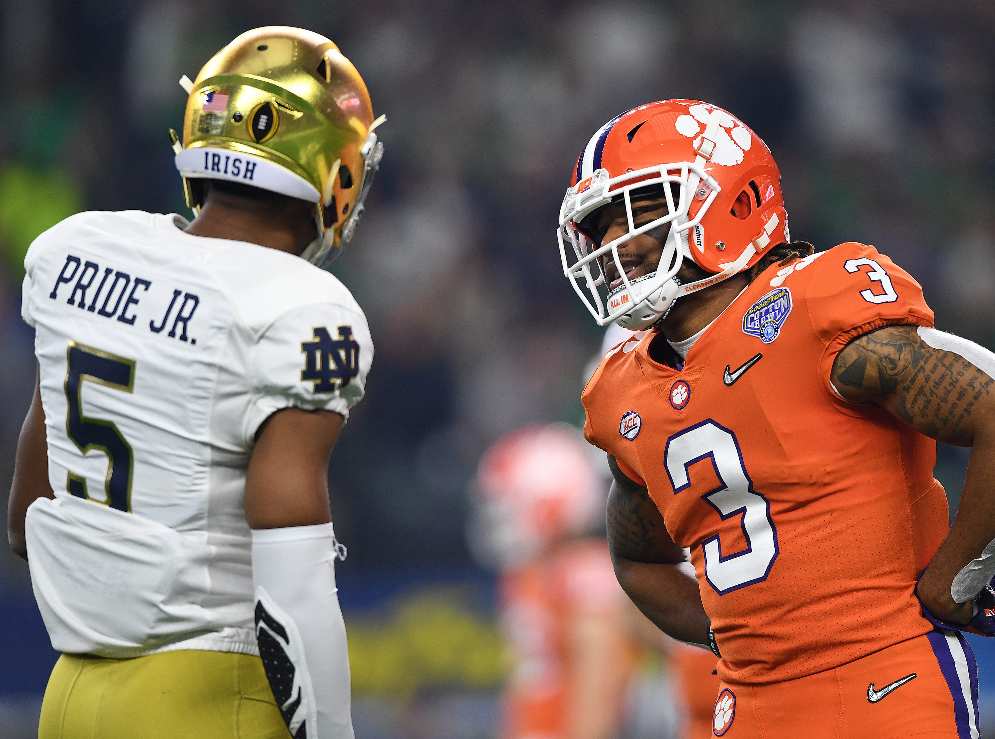 Clemson wide receiver Amari Rodgers (3) talks with \n5 between plays during the 1st quarter of the Goodyear Cotton Bowl at AT&T stadium in Arlington, TX Saturday, December 29, 2018.