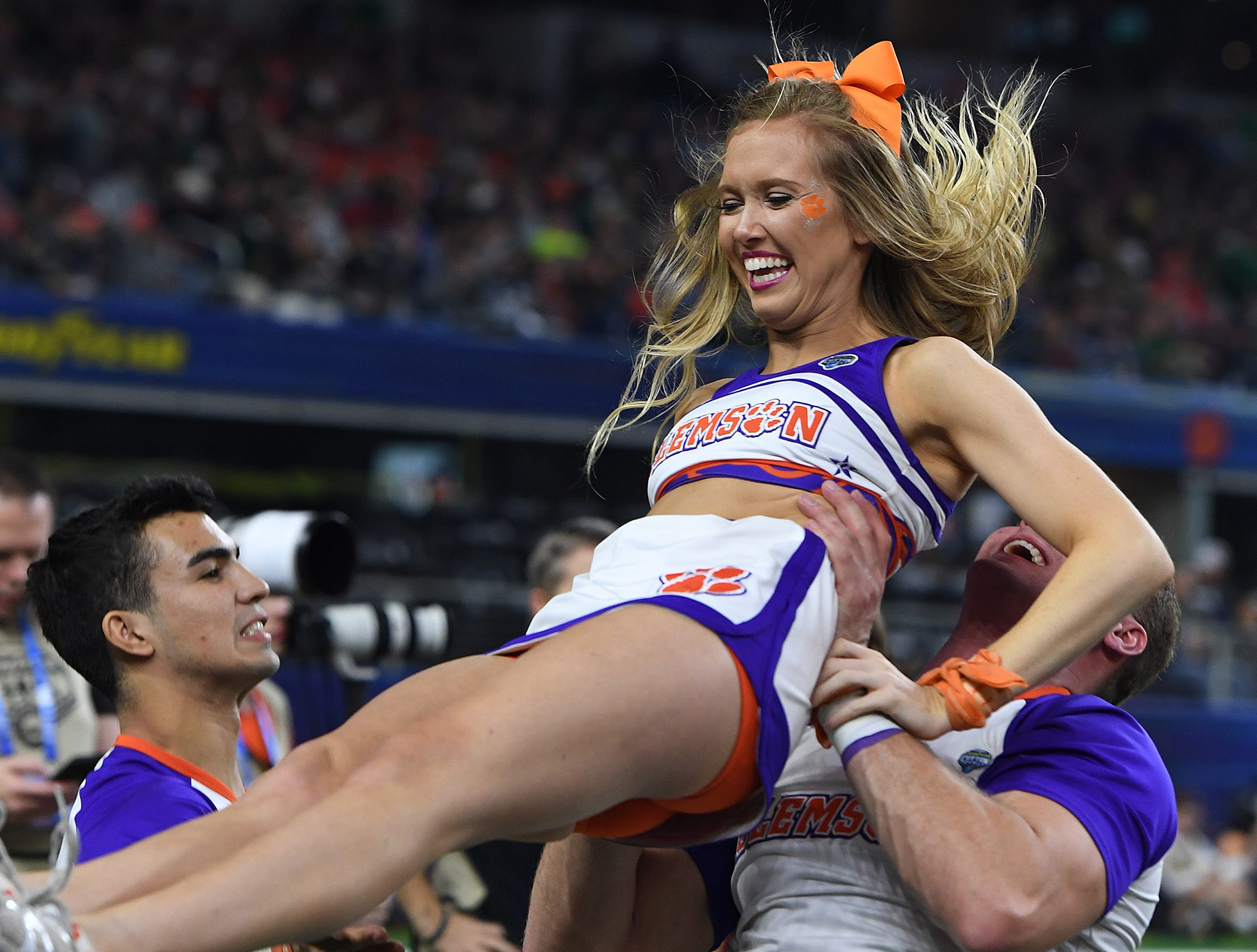 Clemson cheerleaders during the 3rd quarter of the Goodyear Cotton Bowl at AT&T stadium in Arlington, TX Saturday, December 29, 2018.