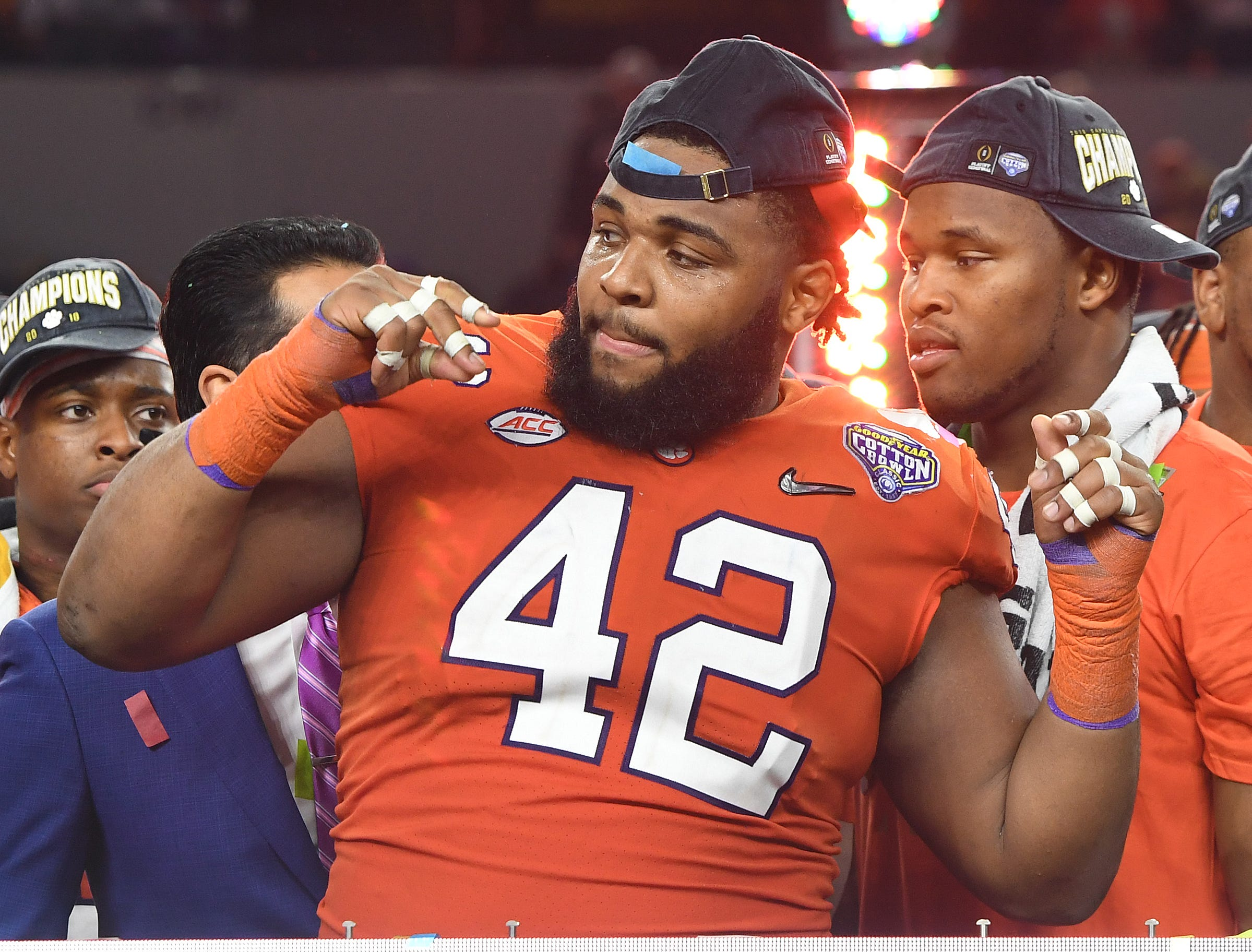 Clemson defensive lineman Christian Wilkins (42) after the Tigers 30-3 win over Notre Dame in the Goodyear Cotton Bowl at AT&T stadium in Arlington, TX Saturday, December 29, 2018.