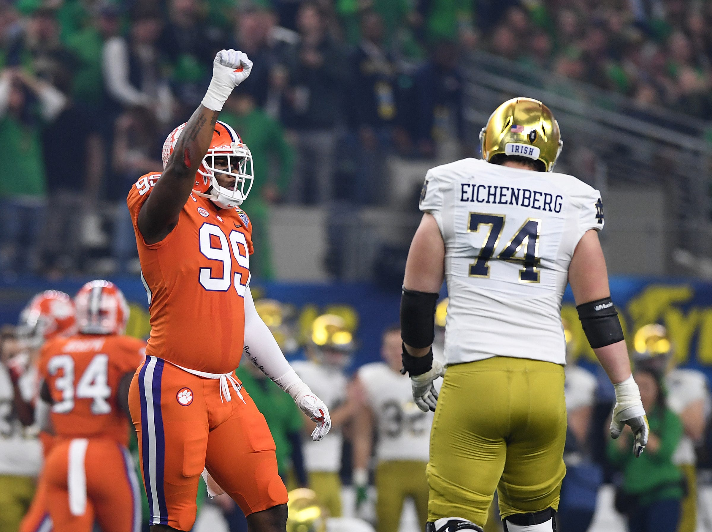 Clemson defensive lineman Clelin Ferrell (99) reacts after a defensive stop against Notre Dame during the 1st quarter of the Goodyear Cotton Bowl at AT&T stadium in Arlington, TX Saturday, December 29, 2018.