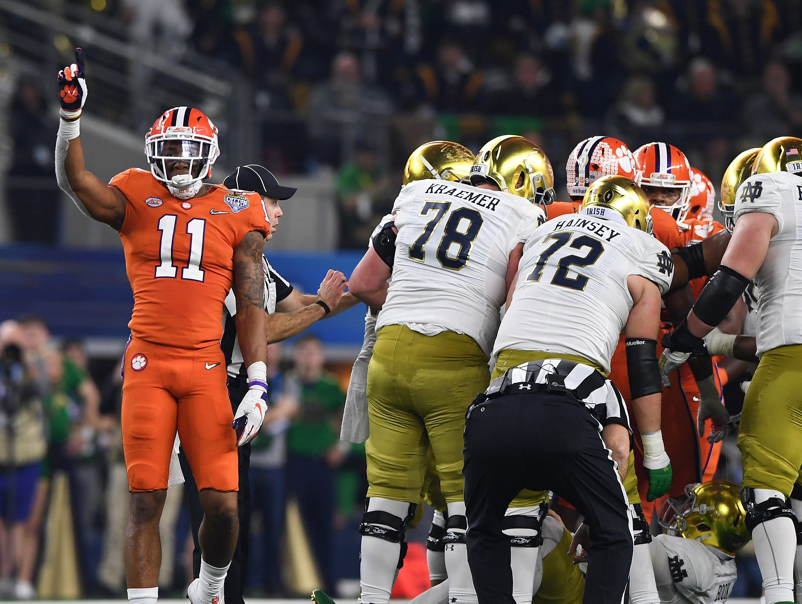 Clemson safety Isaiah Simmons (11) reacts after a defensive stop against Notre Dame during the 3rd quarter of the Goodyear Cotton Bowl at AT&T stadium in Arlington, TX Saturday, December 29, 2018.