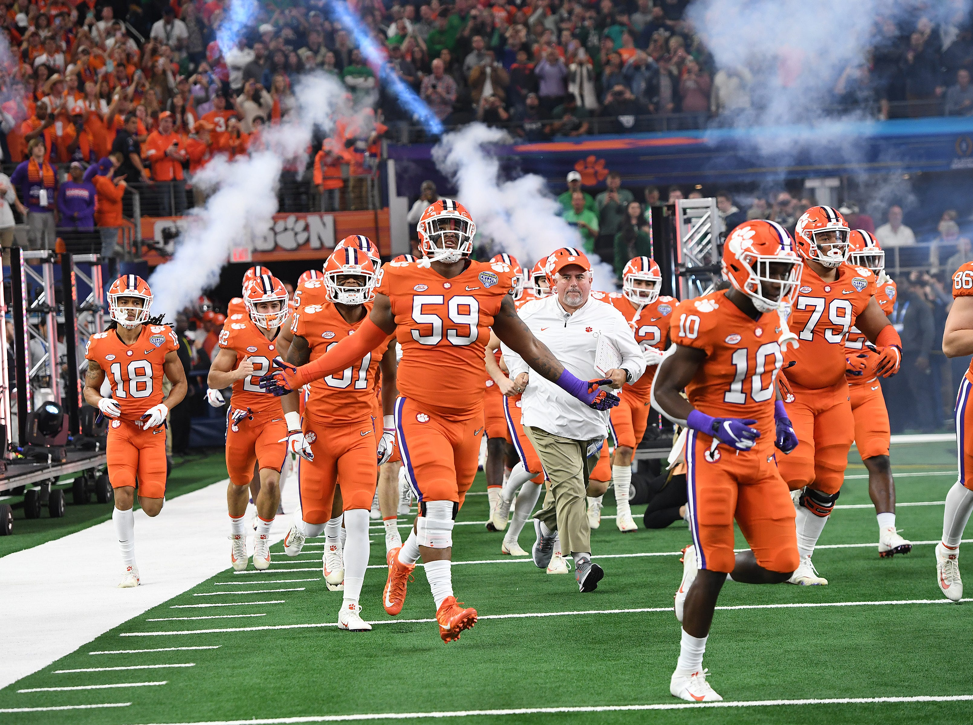 Clemson takes the field during pregame of the Goodyear Cotton Bowl at AT&T stadium in Arlington, TX Saturday, December 29, 2018.