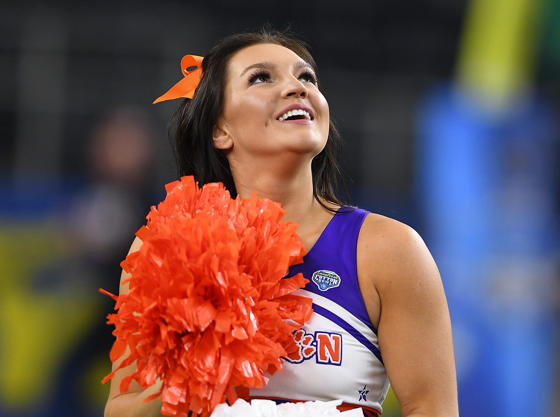 Clemson cheerleaders during pregame of the Goodyear Cotton Bowl at AT&T stadium in Arlington, TX Saturday, December 29, 2018.