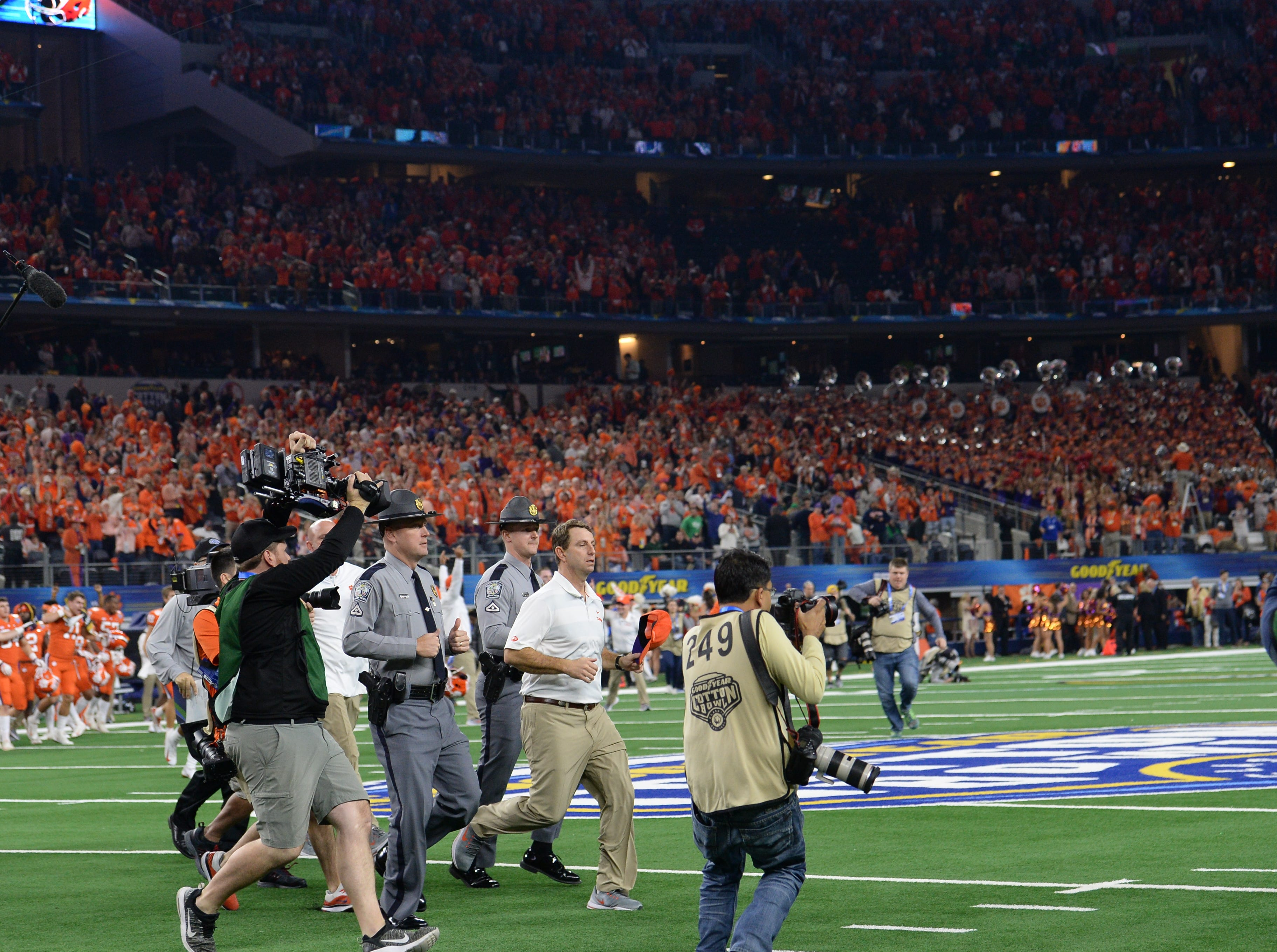 Clemson Head Coach Dabo Swinney after the College Football Playoff Semifinal 30-3 win over Notre Dame at the Goodyear Cotton Bowl Classic at AT&T Stadium in Arlington, Texas Saturday, December 29, 2018.