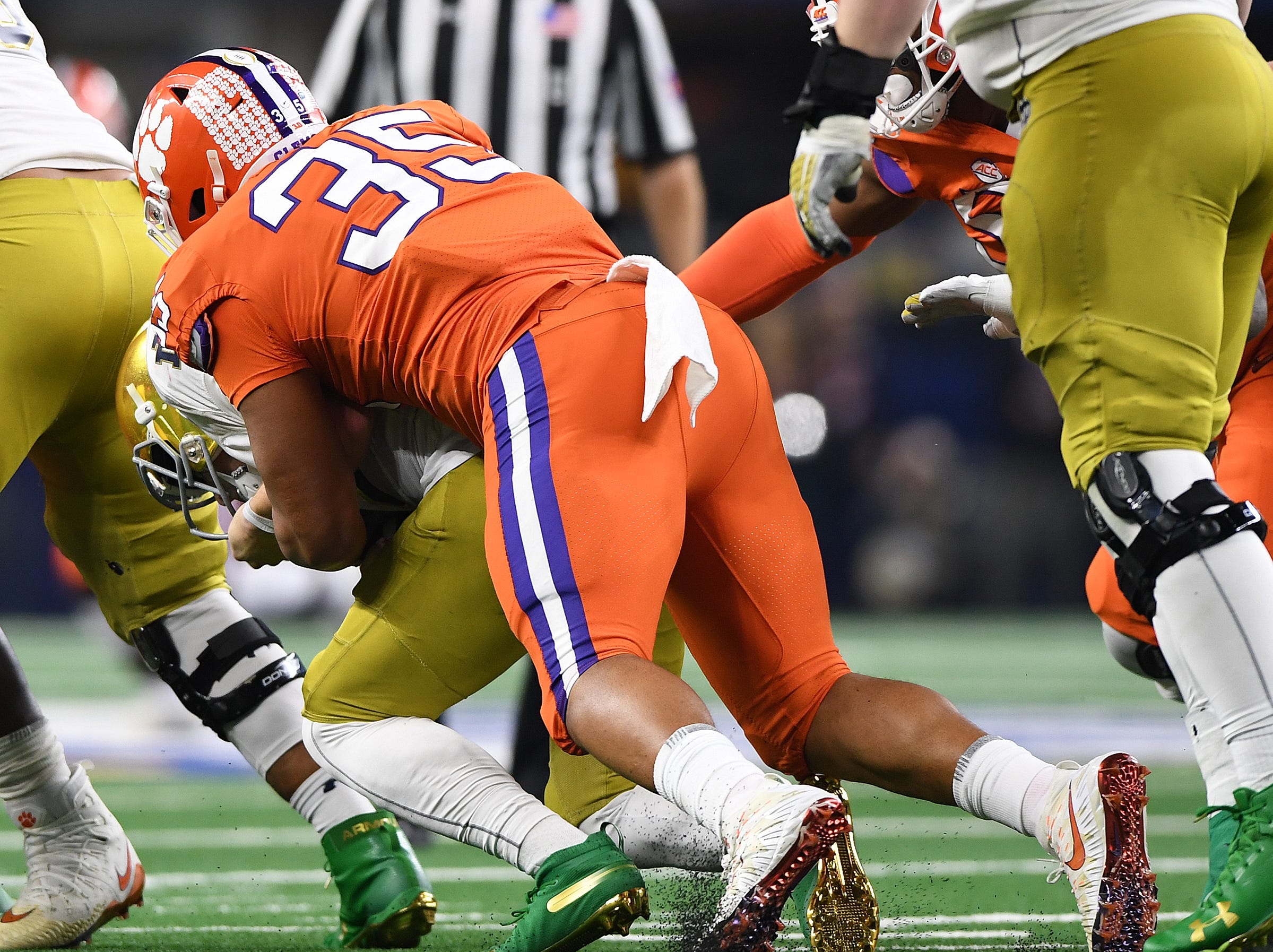 Clemson linebacker Justin Foster (35) during the 4th quarter of the Goodyear Cotton Bowl at AT&T stadium in Arlington, TX Saturday, December 29, 2018.