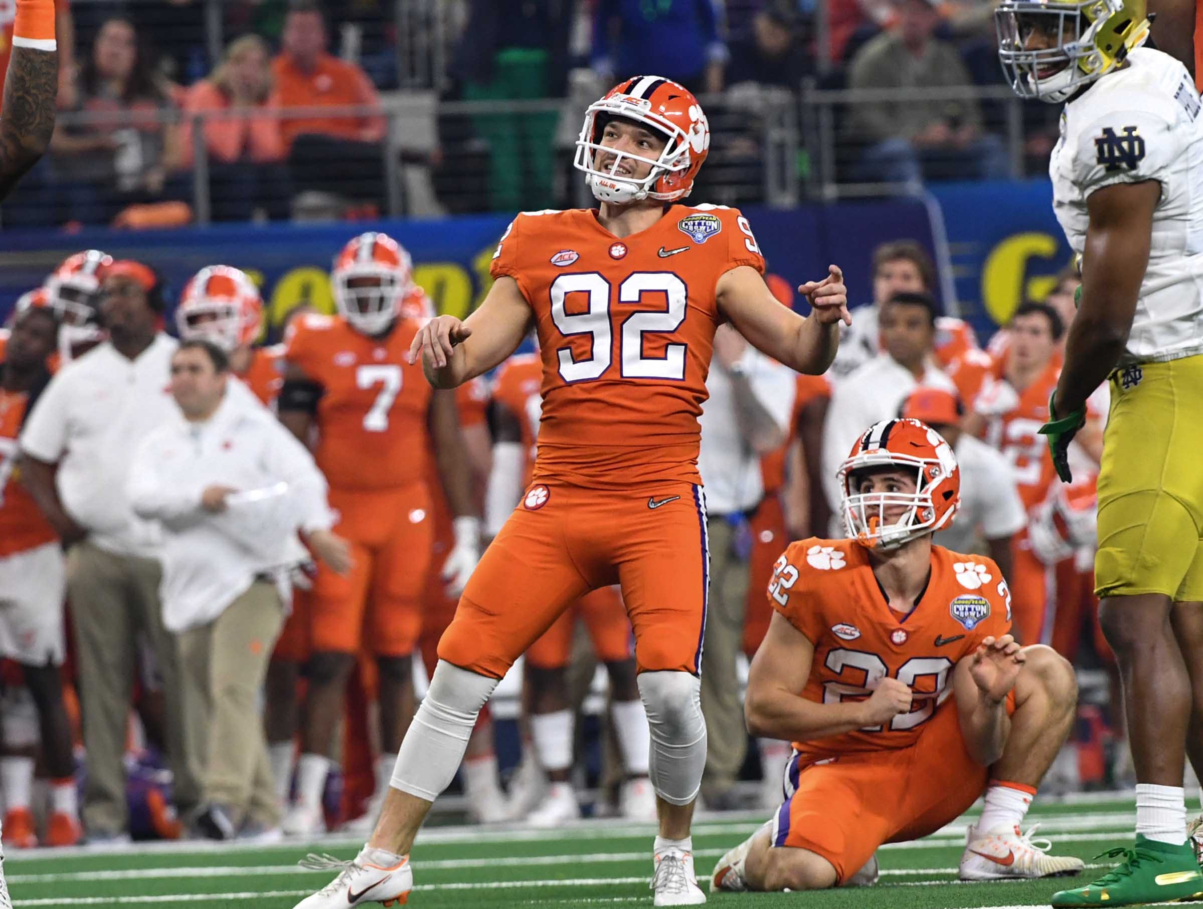 Clemson place kicker Greg Huegel (92) watches a field goal attempt miss during the second quarter of the College Football Playoff Semifinal at the Goodyear Cotton Bowl Classic at AT&T Stadium in Arlington, Texas Saturday, December 29, 2018.