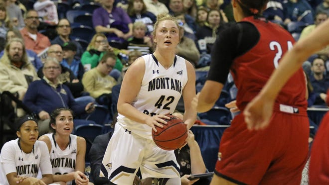 Montana State's Hallie Wright lines up a shot against the Southern Utah defense in the Cats' 69-64 win Saturday at Worthington Arena in Bozeman.