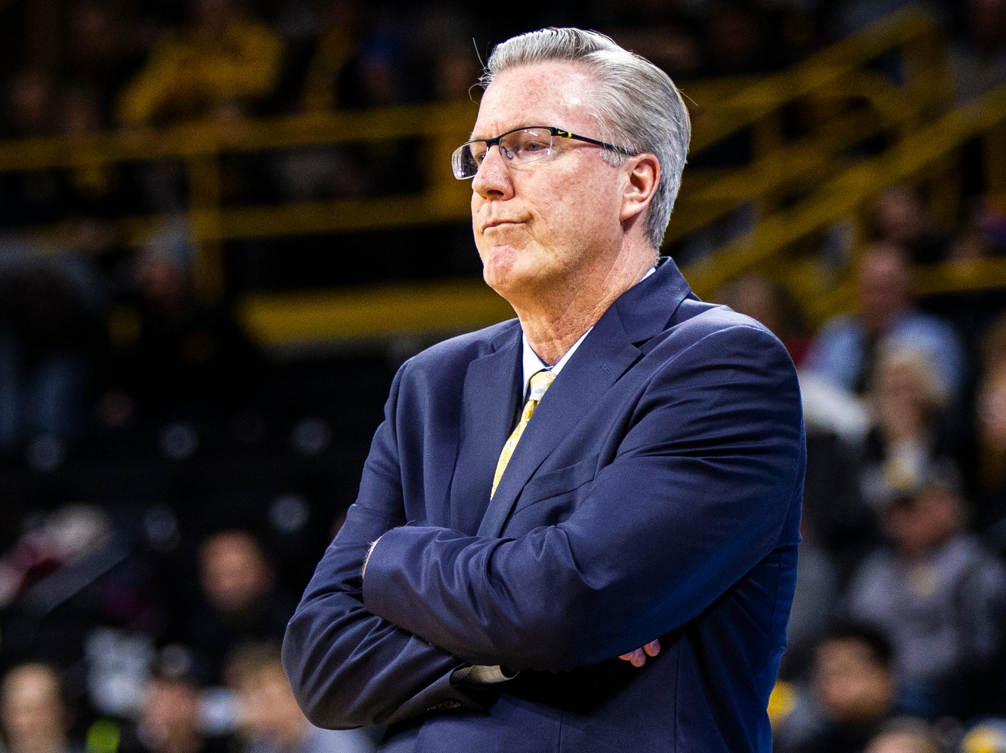 Iowa head coach Fran McCaffery crosses his arms during a NCAA men's basketball game on Saturday, Dec. 29, 2018, at Carver-Hawkeye Arena in Iowa City.