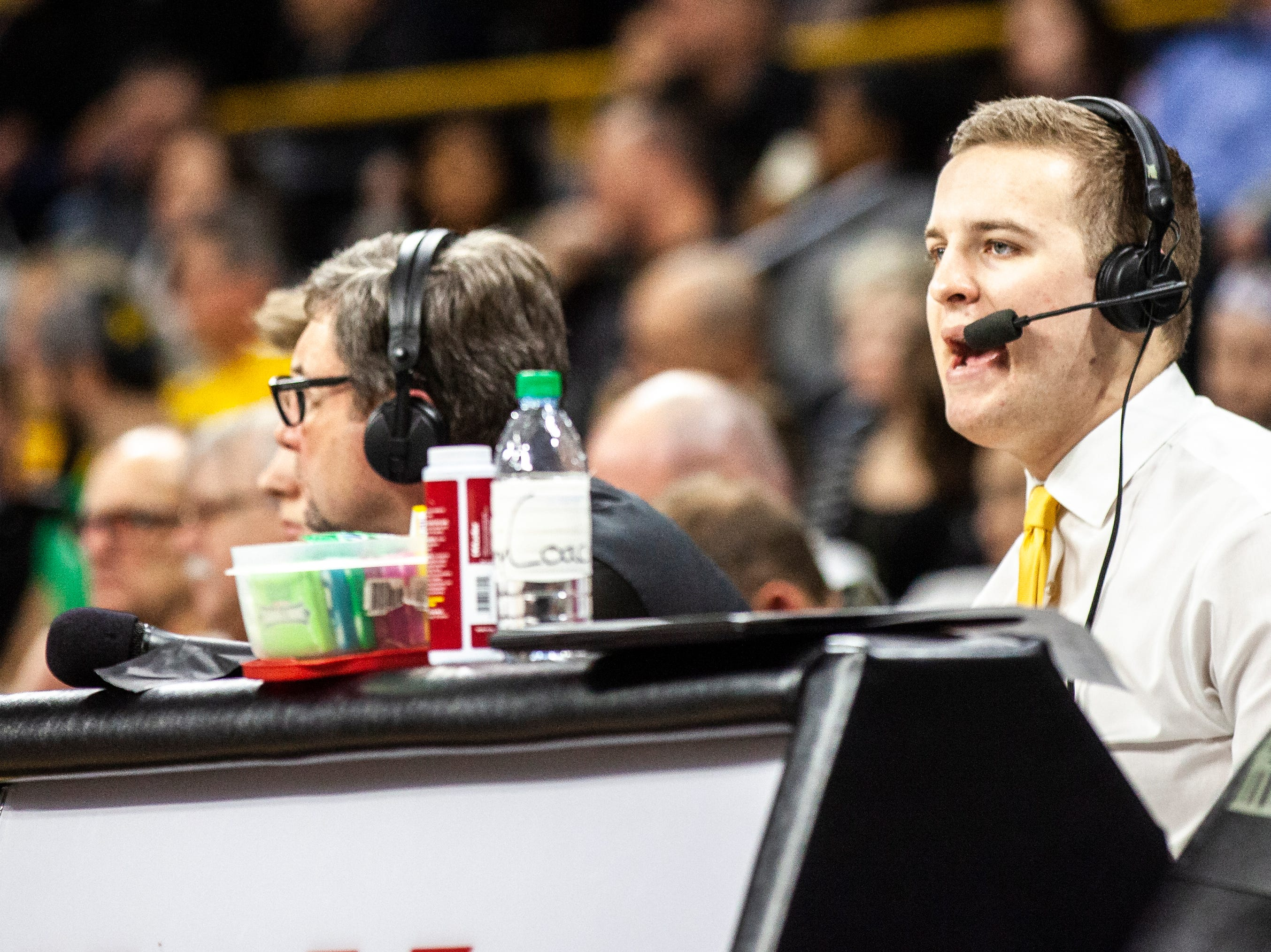 Iowa radio commentator Zach Mackey is seen during a NCAA men's basketball game on Saturday, Dec. 29, 2018, at Carver-Hawkeye Arena in Iowa City.