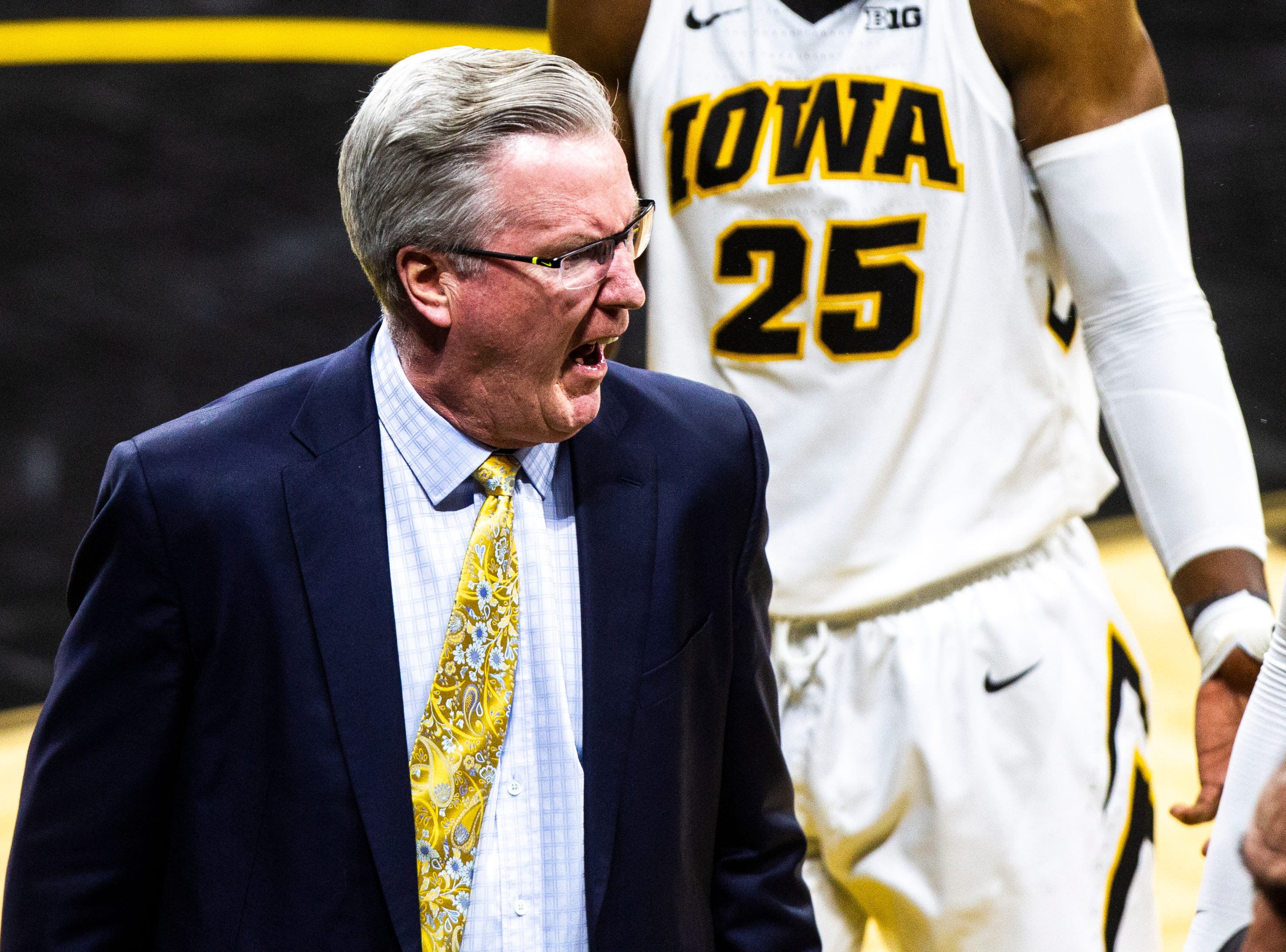 Iowa men's basketball head coach Fran McCaffery yells while heading into halftime during a NCAA men's basketball game on Saturday, Dec. 29, 2018, at Carver-Hawkeye Arena in Iowa City.