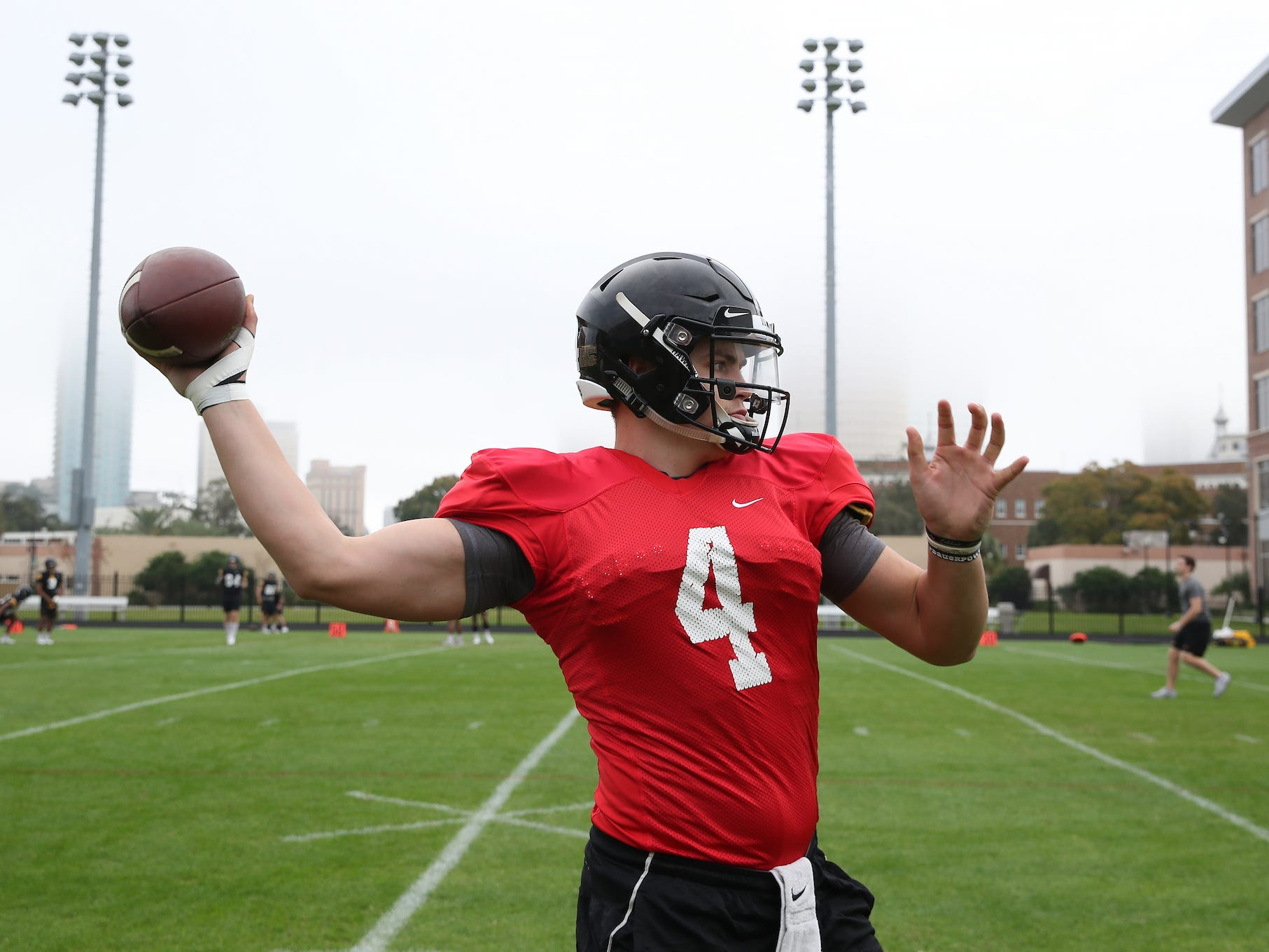In this University of Iowa photo from Saturday's practice, Hawkeyes quarterback Nate Stanley warms up. Stanley actually threw one pass late in Iowa's 30-3 Outback Bowl loss to Florida on Jan. 2, 2017. For more photos, visit HawkeyeSports.com.