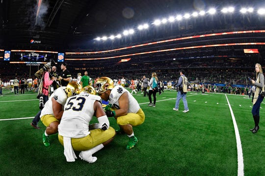 Dec 29, 2018; Arlington, TX, United States; Notre Dame Fighting Irish defensive lineman Khalid Kareem (53) reacts at the end of the game in the 2018 Cotton Bowl college football playoff semifinal game against the Clemson Tigers at AT&T Stadium. Mandatory Credit: Jerome Miron-USA TODAY Sports