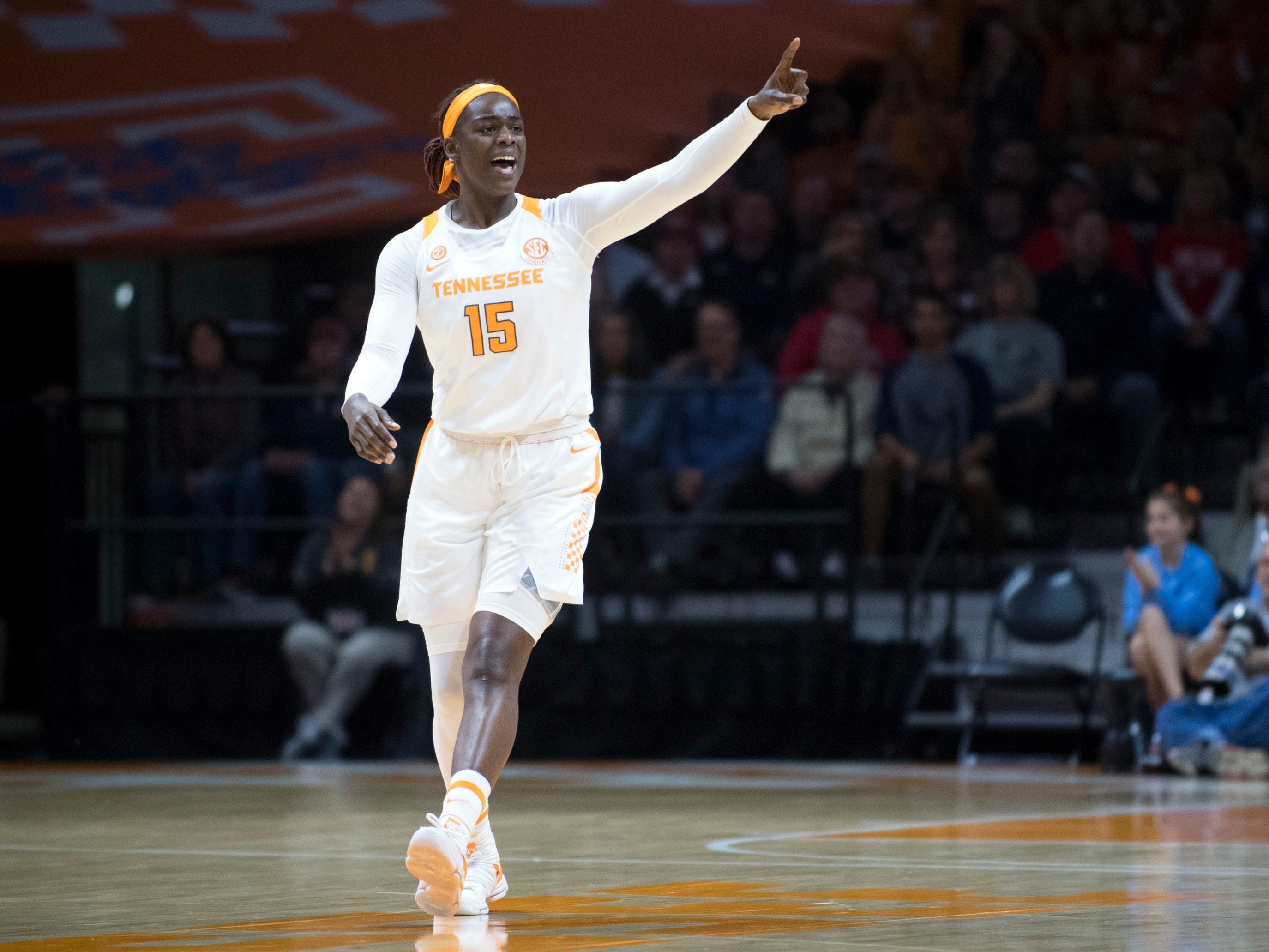 Tennessee's Cheridene Green (15) celebrates as the Lady Vols scores against Belmont on Sunday, December 30, 2018.