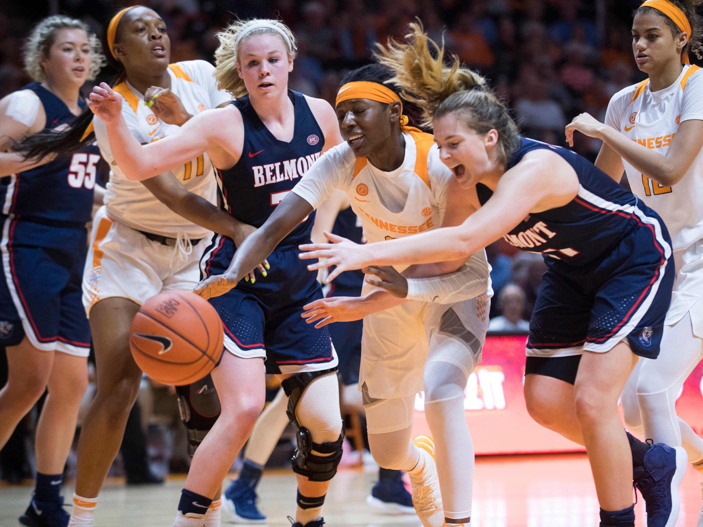 Belmont's Ellie Harmeyer (30) and Maura Muensterman (31) chase after the ball with Tennessee's Rennia Davis (0) on Sunday, December 30, 2018.