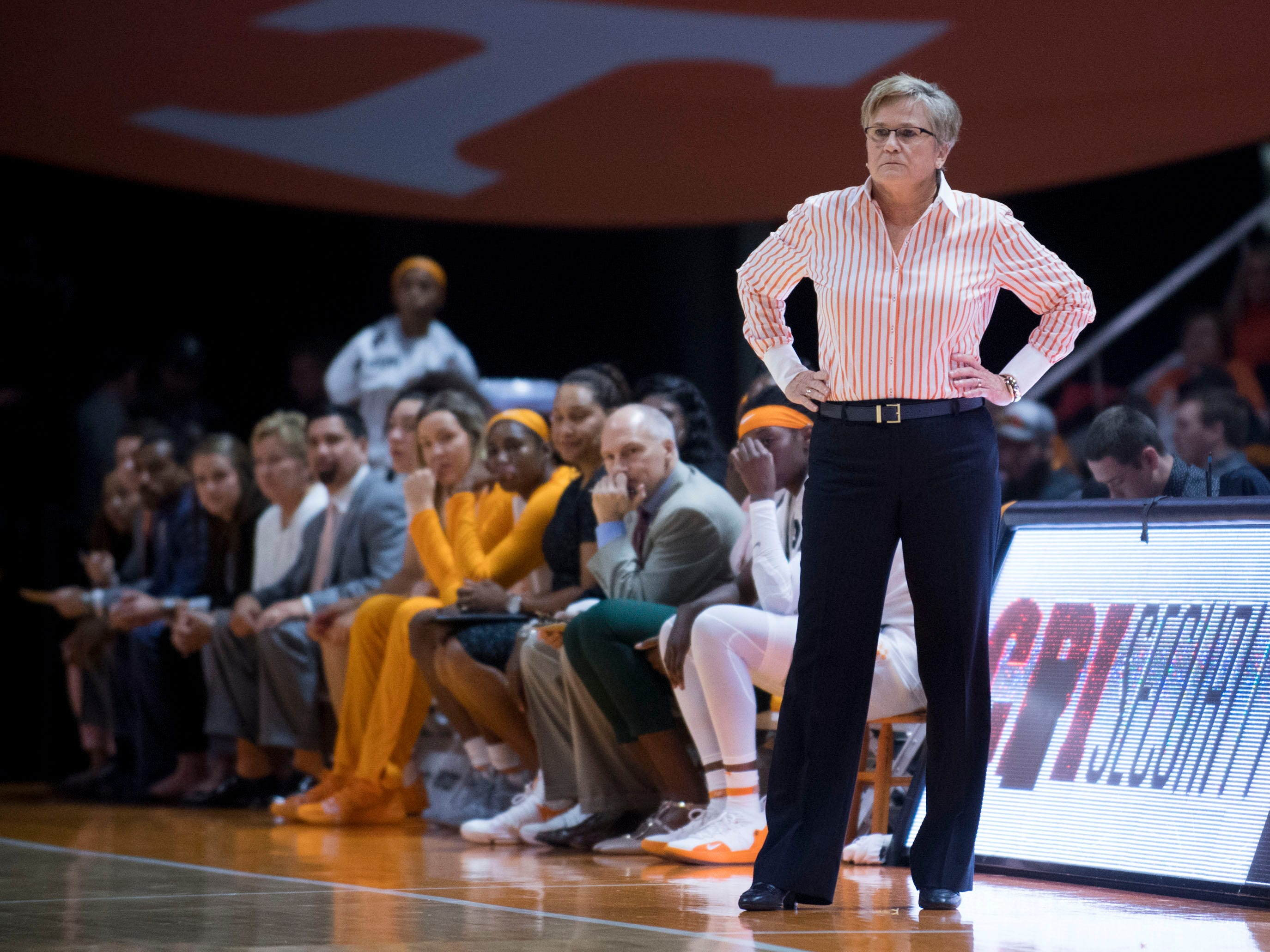 Tennessee head coach Holly Warlick during the game against Belmont on Sunday, December 30, 2018.