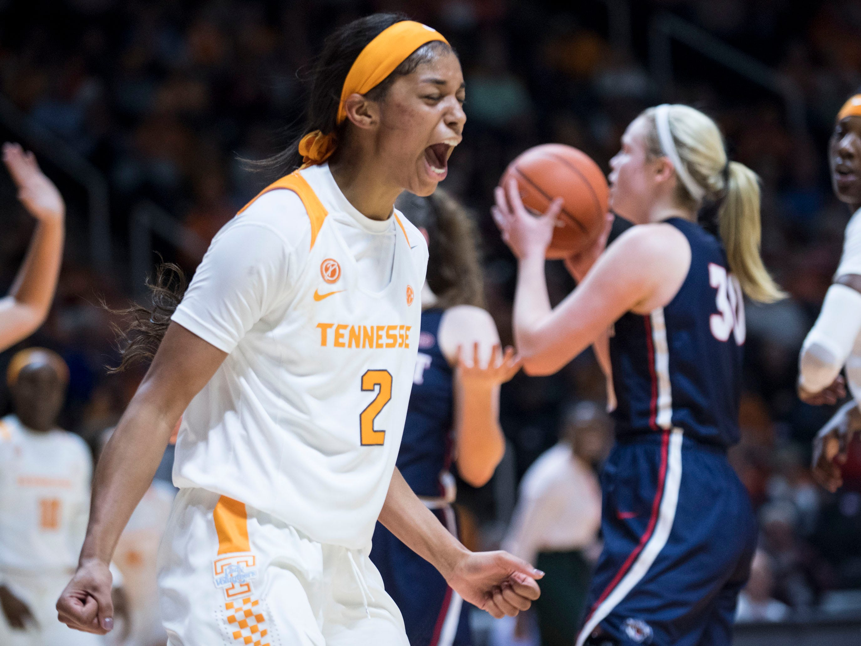 Tennessee's Evina Westbrook (2) celebrates as she scores in the final minutes of the game against Belmont on Sunday, December 30, 2018.