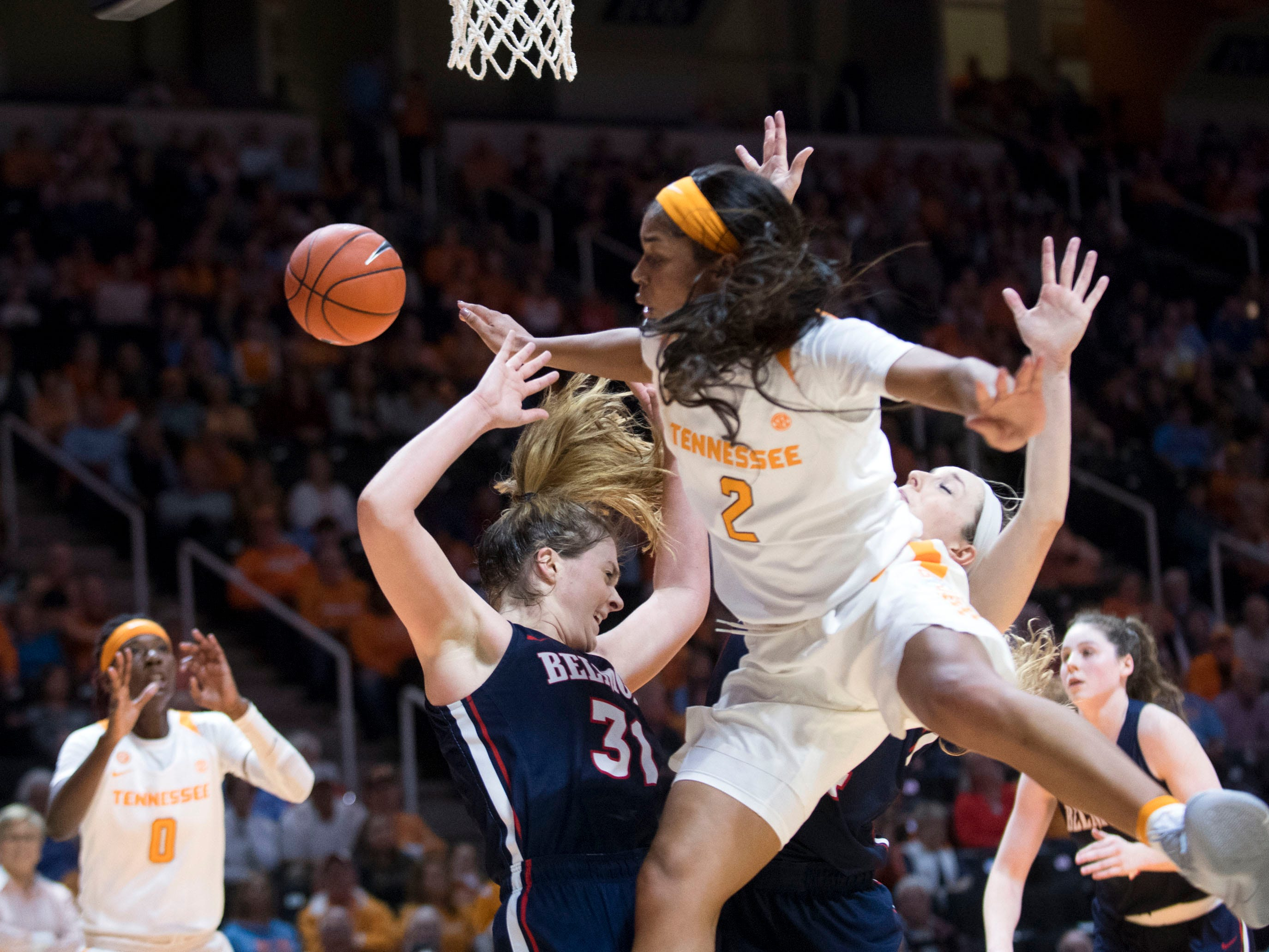 Tennessee's Evina Westbrook (2) collides with Belmont's Maura Muensterman (31) on Sunday, December 30, 2018.
