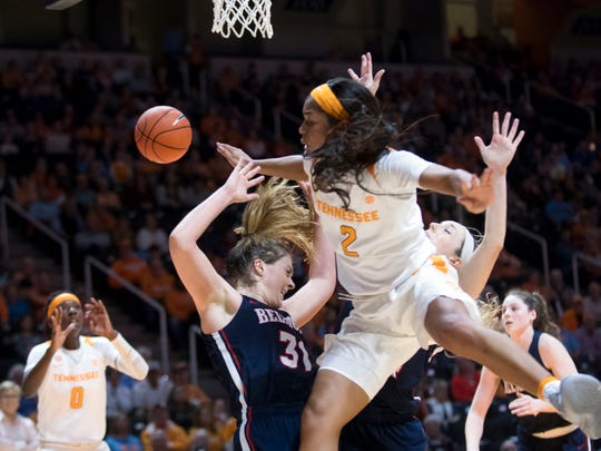 Tennessee's Evina Westbrook, shown driving against Belmont, scored a team-high 19 points against Alabama Thursday night but the points couldn't prevent an 86-65 rout at the hands of the Crimson Tide.
