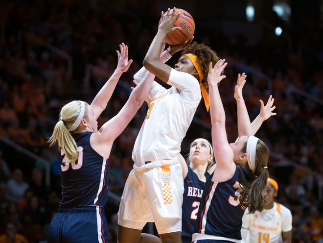 Tennessee's Jazmine Massengill, shown amid several Belmont defenders on Sunday, will be surrounded by Auburn defenders Thursday night when the Lady Vols open SEC play.