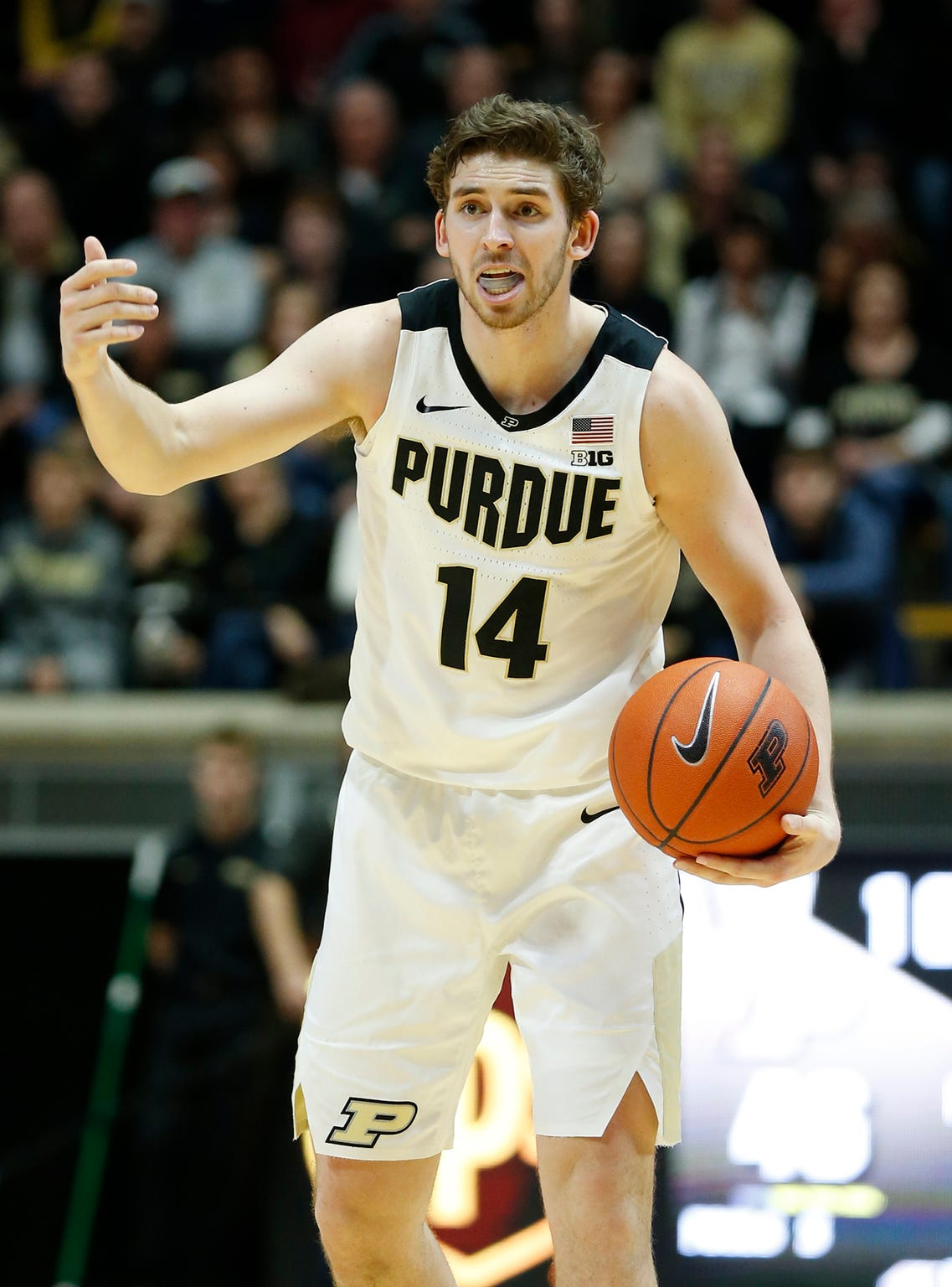 Ryan Cline of Purdue calls out a play to his teammates as they face Belmont in the second half Saturday, December 29, 2018, at Mackey Arena. Purdue defeated Belmont 73-62.
