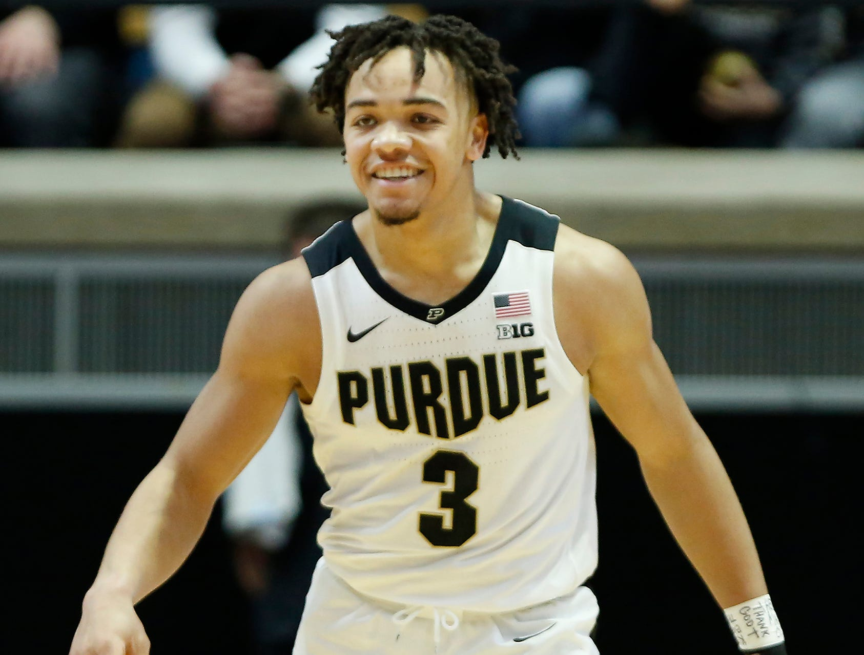 Carsen Edwards of Purdue grins as the Boilermakers hold off a late rally by Belmont Saturday, December 29, 2018, at Mackey Arena. Purdue defeated Belmont 73-62.