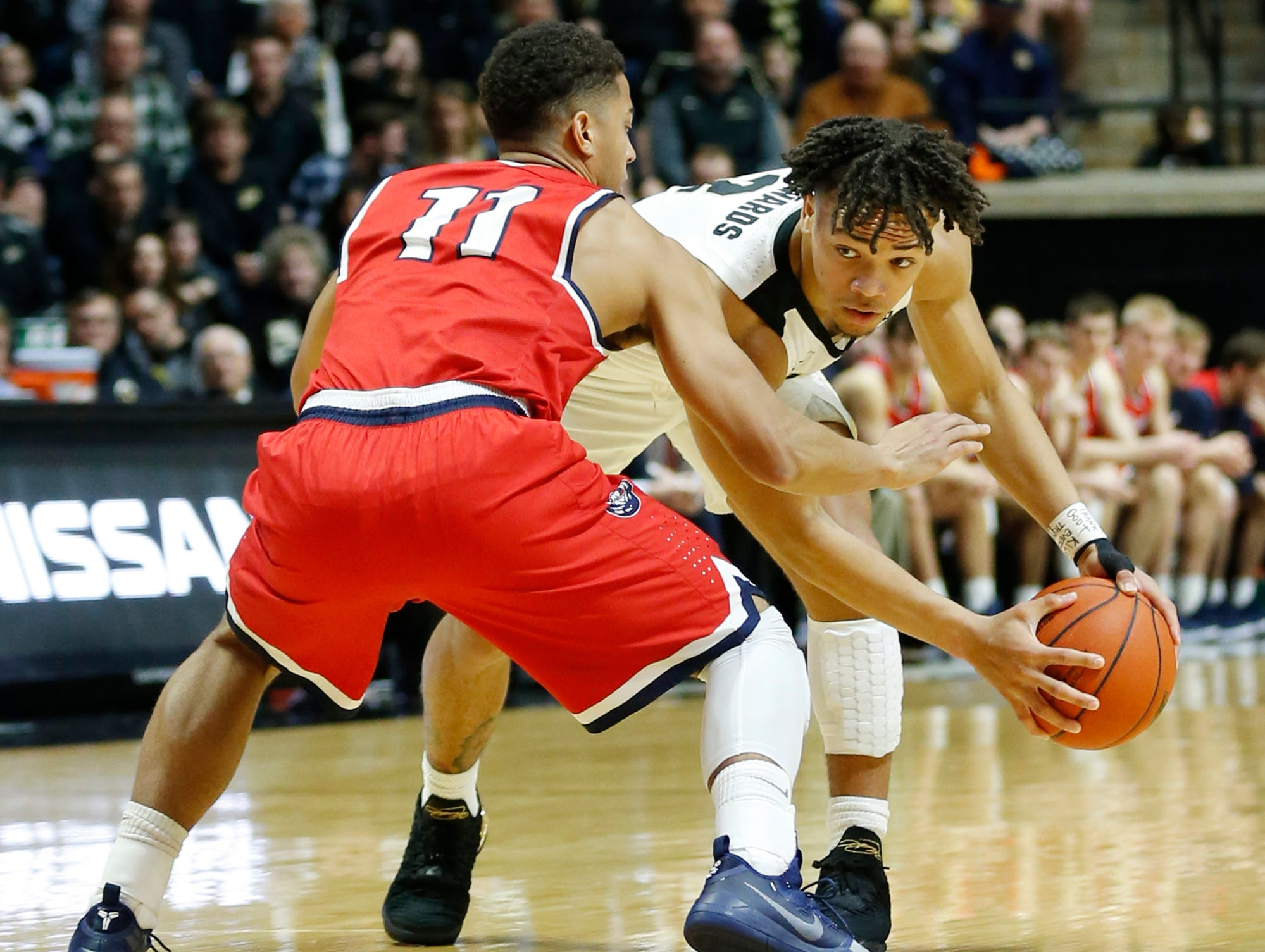 Carsen Edwards of Purdue looks to drive against Kevin McClain of Belmont Saturday, December 29, 2018, at Mackey Arena. Purdue defeated Belmont 73-62.