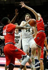 Ryan Cline of Purdue with a drive to the basket against Belmont Saturday, December 29, 2018, at Mackey Arena. Purdue defeated Belmont 73-62.