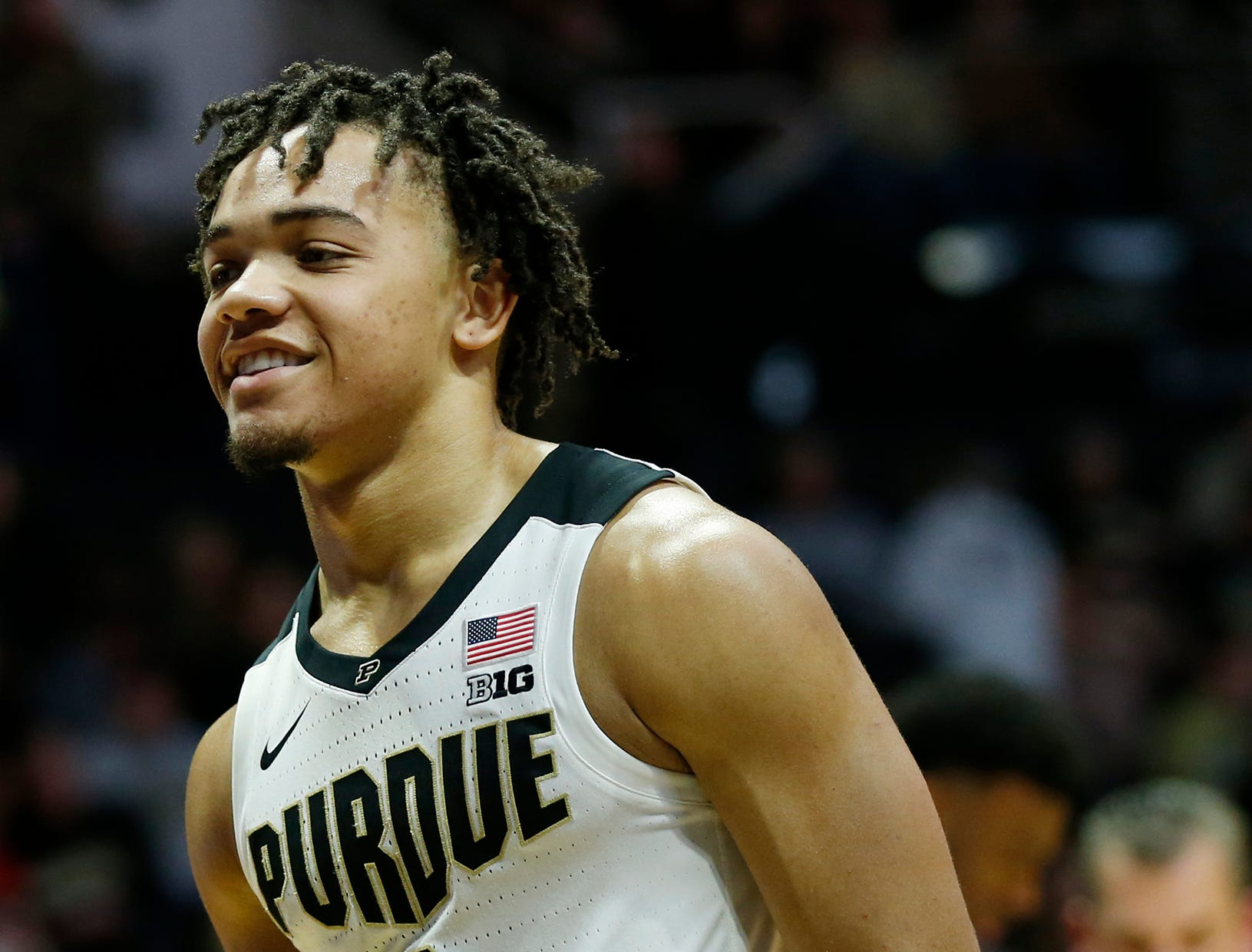 Carsen Edwards of Purdue smiles after the Boilermakers drew a foul on Belmont in the second half Saturday, December 29, 2018, at Mackey Arena. Purdue defeated Belmont 73-62.