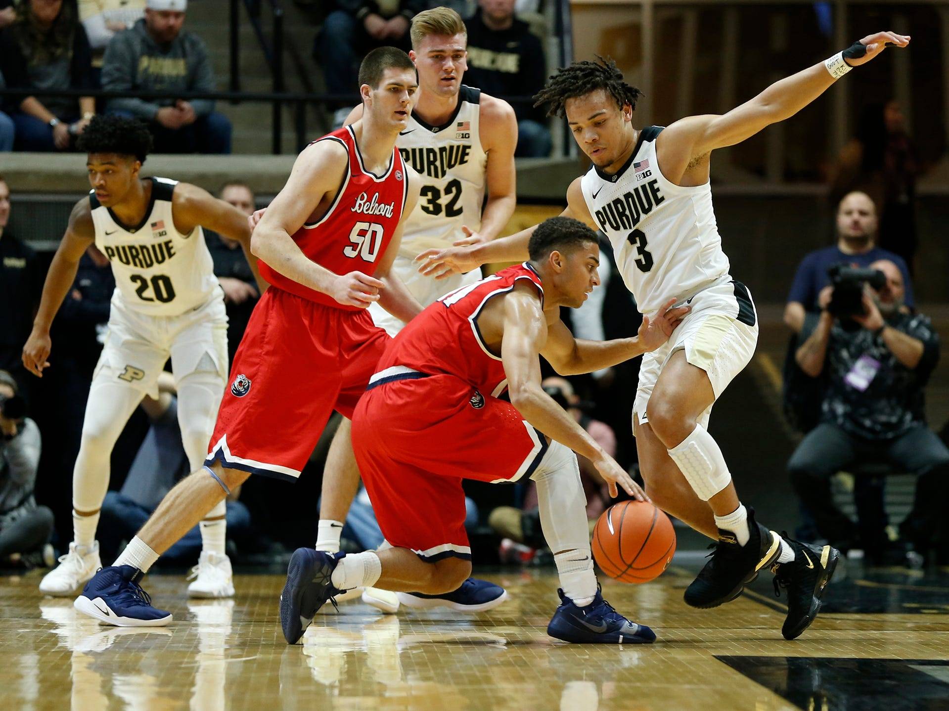 Carsen Edwards of Purdue steps up to cut off the lane for Kevin McClain of Belmont Saturday, December 29, 2018, at Mackey Arena. Purdue defeated Belmont 73-62.