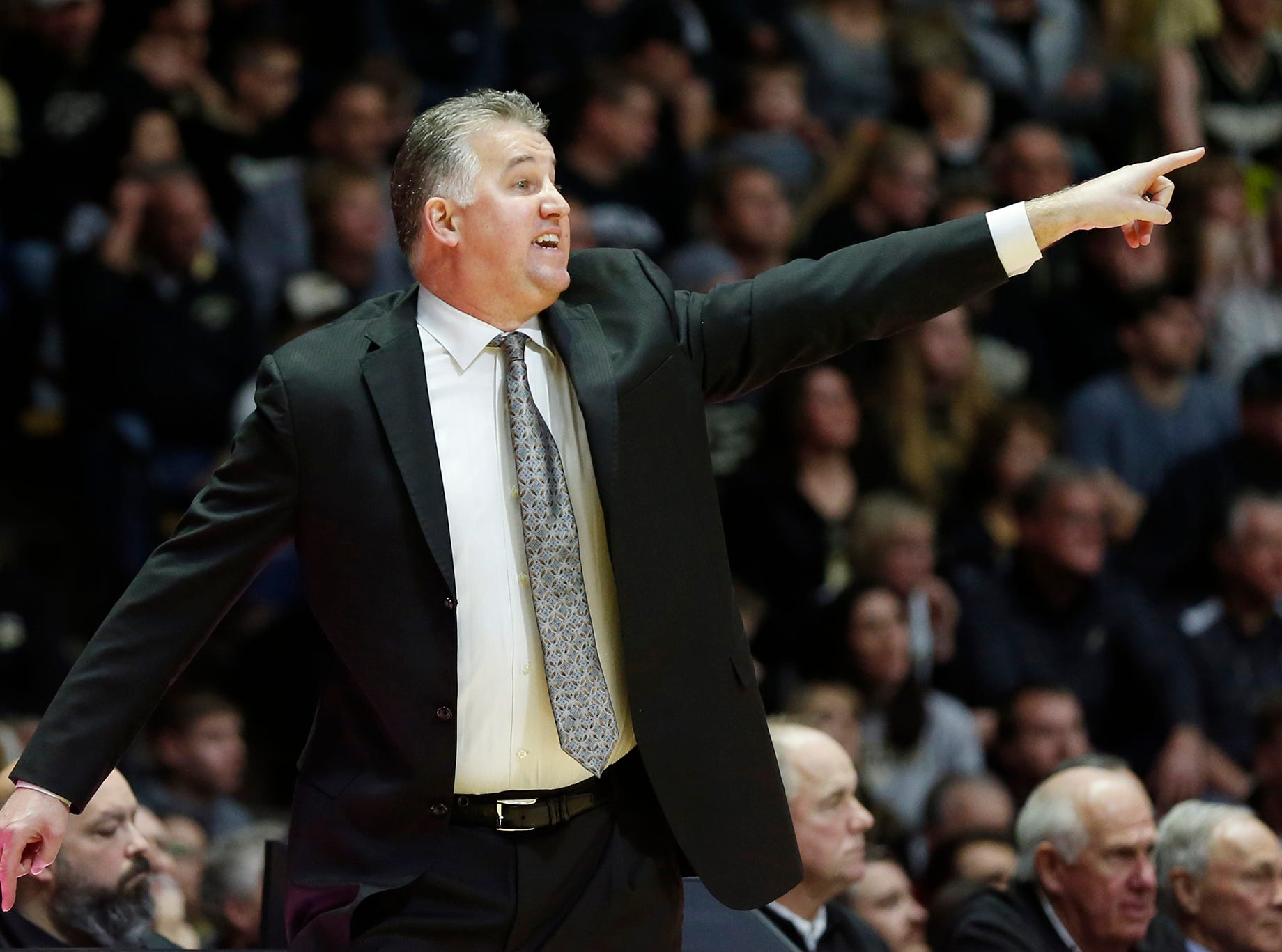 Purdue head coach Matt Painter shouts instructions to the Boilermakers as they bring the ball upcourt against the full court press of Belmont in the second half Saturday, December 29, 2018, at Mackey Arena. Purdue defeated Belmont 73-62.