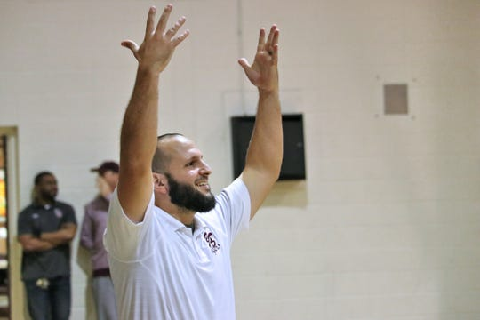 Breaux Bridge basketball coach Chad Pourciau reacts from the sidelines as the Breaux Bridge Tigers take on the Hamilton Christian Warriors in the finals of the St. Martinville Holiday Tournament  Saturday, Dec. 29, 2018.