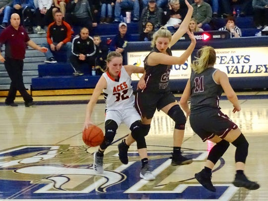 Amanda-Clearcreek's Alyssa Evans scored 18 points, had 10 assists and four rebounds in the Aces' 63-47 loss to Vinton County on Saturday during the Teays Valley Holiday Classic.