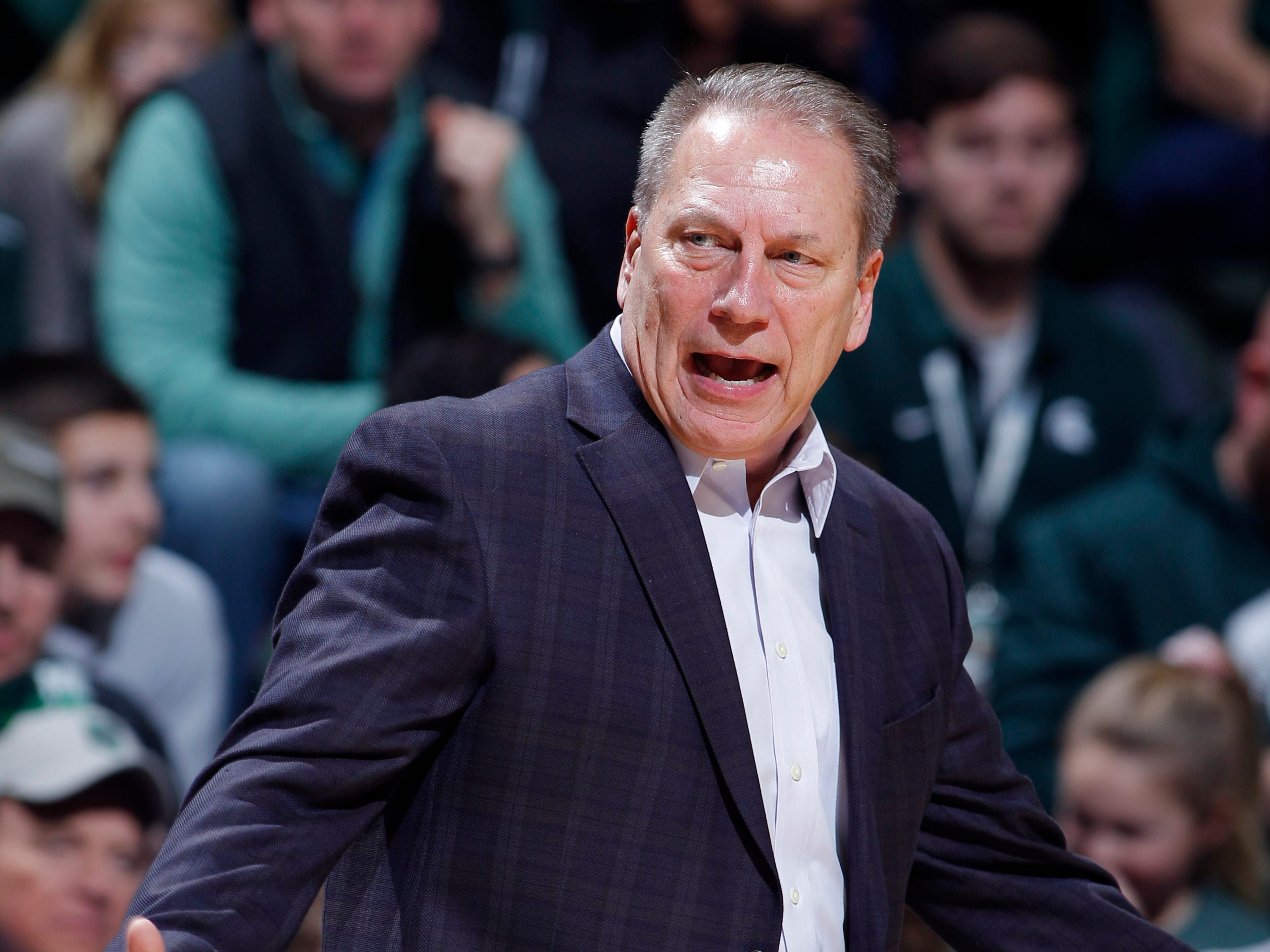 Michigan State coach Tom Izzo reacts against Northern Illinois, Saturday, Dec. 29, 2018, in East Lansing, Mich.