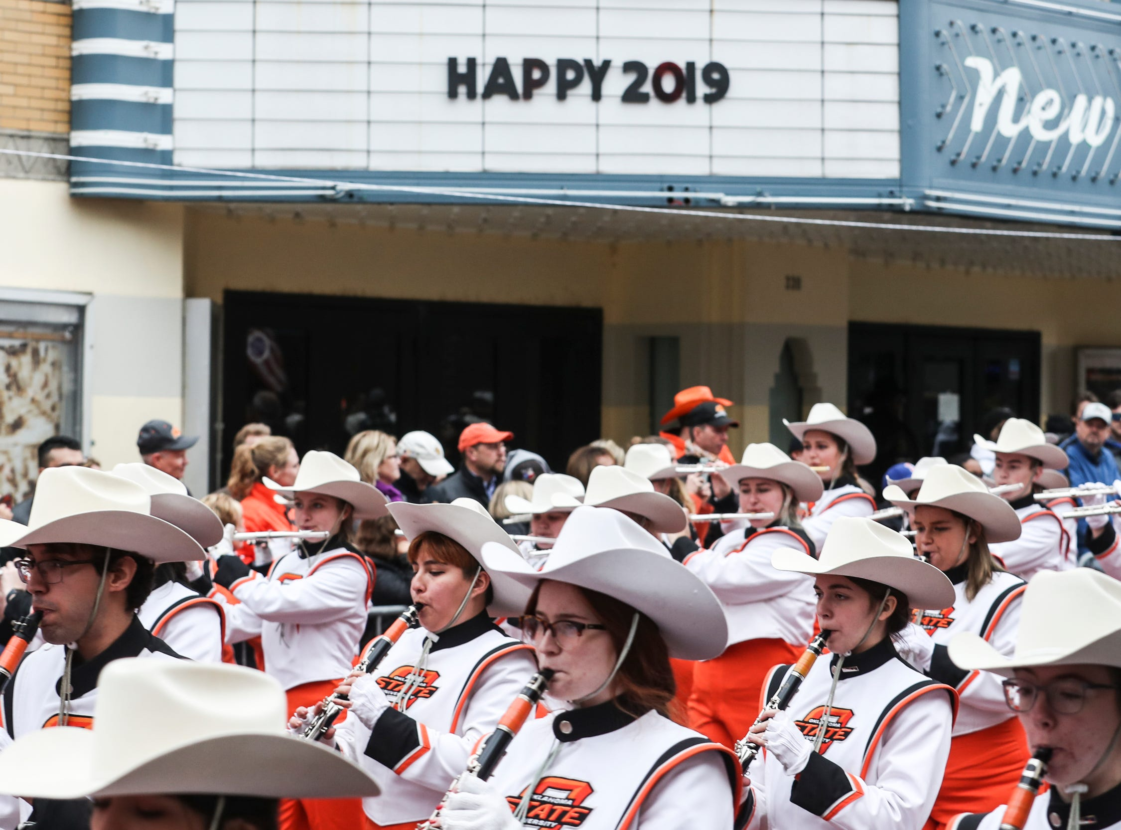 December 30 2018 - The Oklahoma State University Cowboy Marching Band make their way down Beale Street during the Annual Liberty Bowl Parade & Pep Rally on Sunday. On Monday Oklahoma State Cowboys and Missouri Tigers play in the 2018 AutoZone Liberty Bowl.