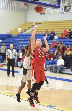 Norfork's Kynzie Rangel goes up for two against Watson Chapel on Saturday in the third-place game of the First Arkansas Bail Bonds Tournament.