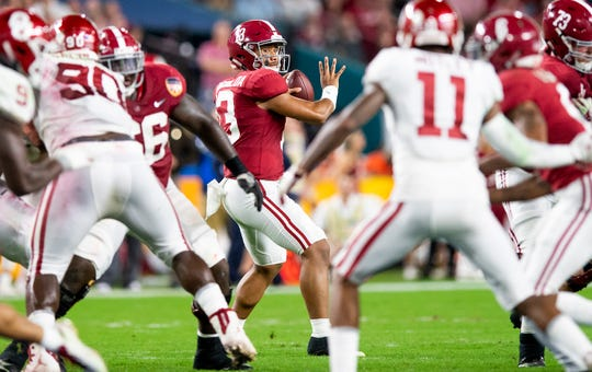 Alabama quarterback Tua Tagovailoa (13) passes against Oklohama in first half action of the Orange Bowl at Hard Rock Stadium in Miami Gardens, Fla., on Saturday December 29, 2018.