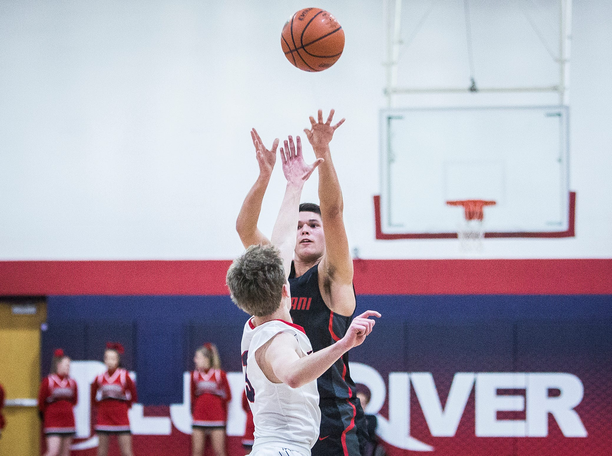 Wapahani faced off against Blue River Valley during their game at Blue River Valley High School Saturday, Dec. 29, 2018.