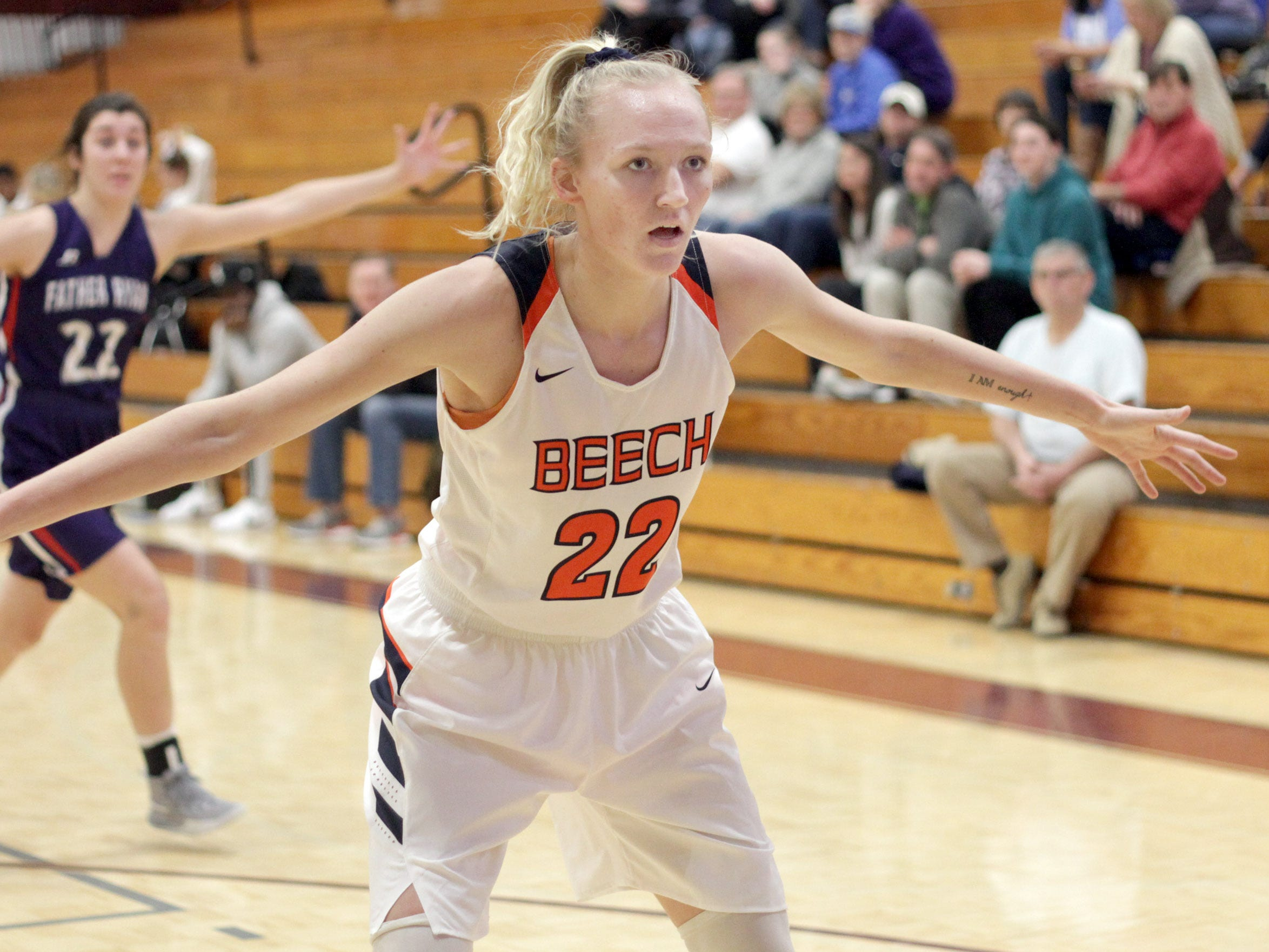 Beech's Kendra Mueller guards the inbound pass against Father Ryan on Saturday, December 29, 2018.