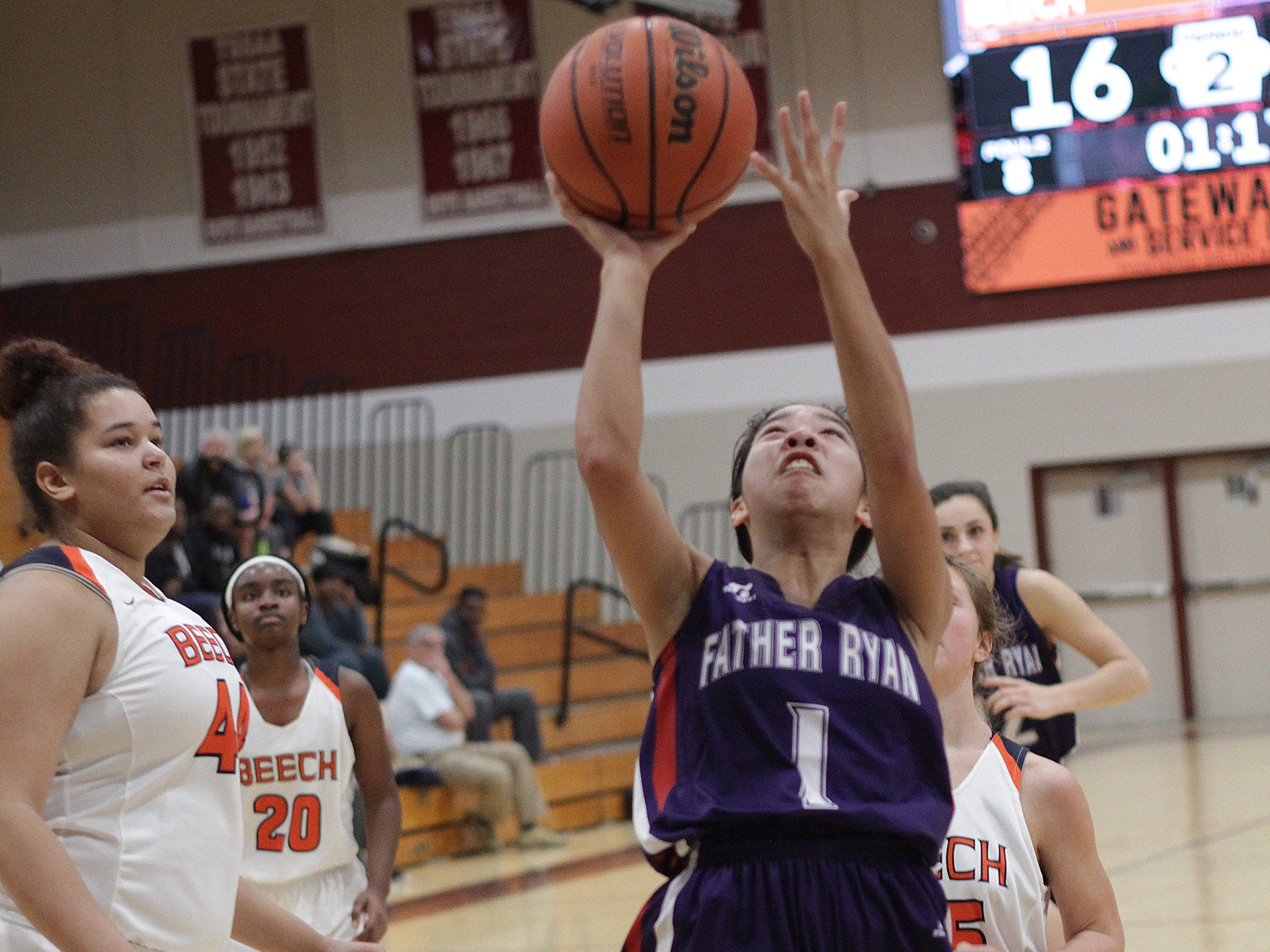 Father Ryan's Christine Quitalig shoots against Beech on Saturday, December 29, 2018.
