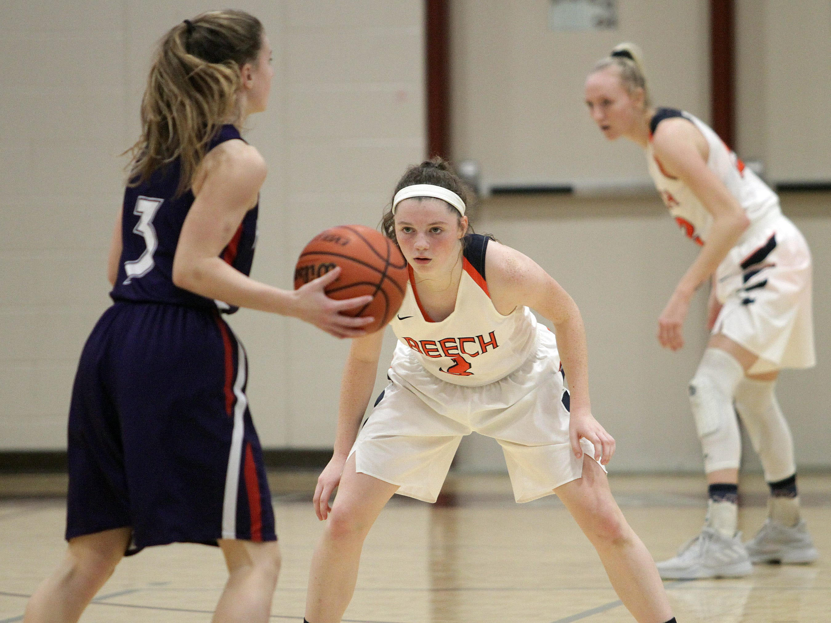 Beech's Jana Claire Swafford guards Father Ryan's Marilee Hulse on Saturday, December 29, 2018.