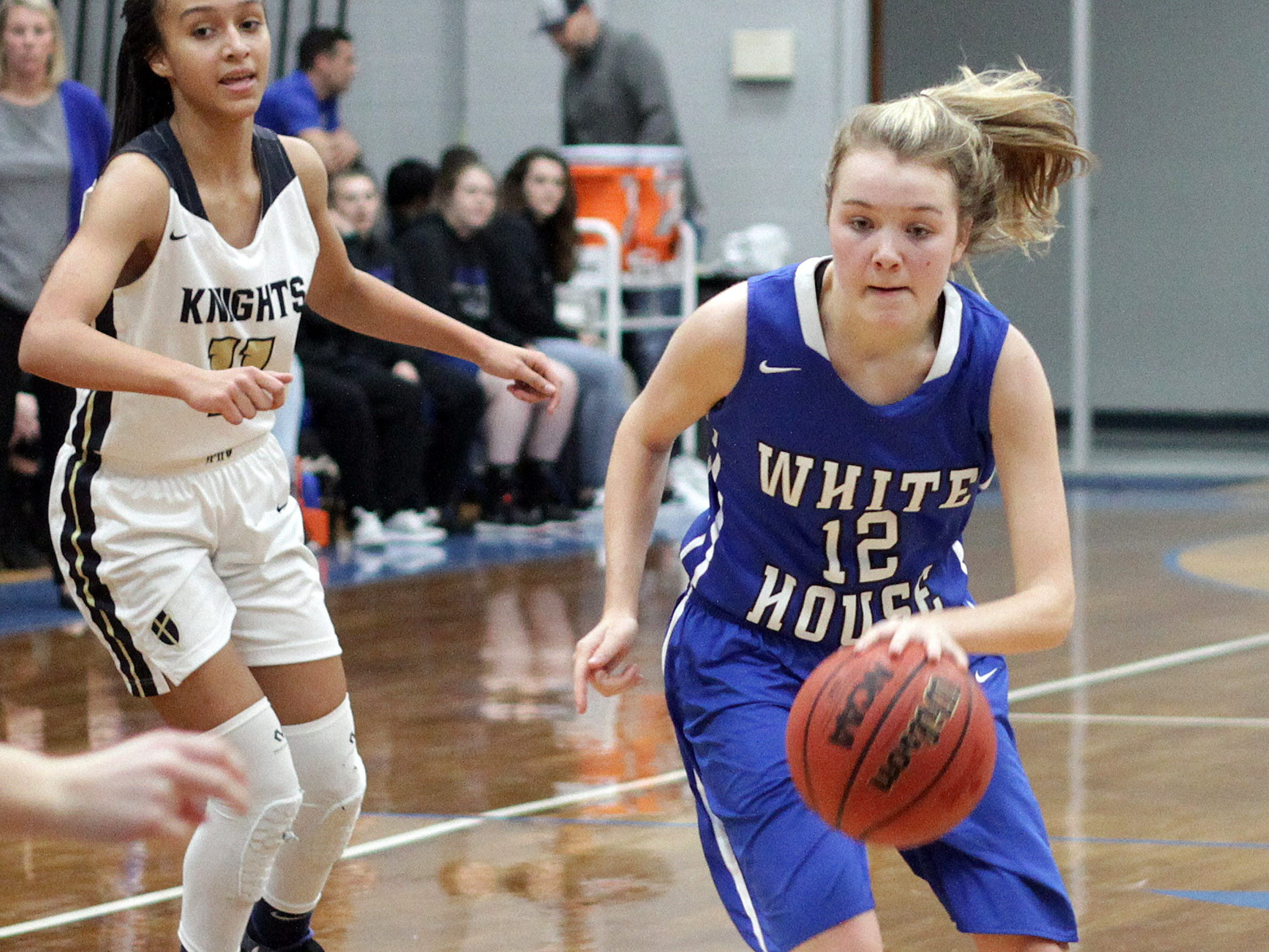 White House's Grace Maupin makes a move to the lane against Pope John Paul II on Thursday, December 27, 2018.