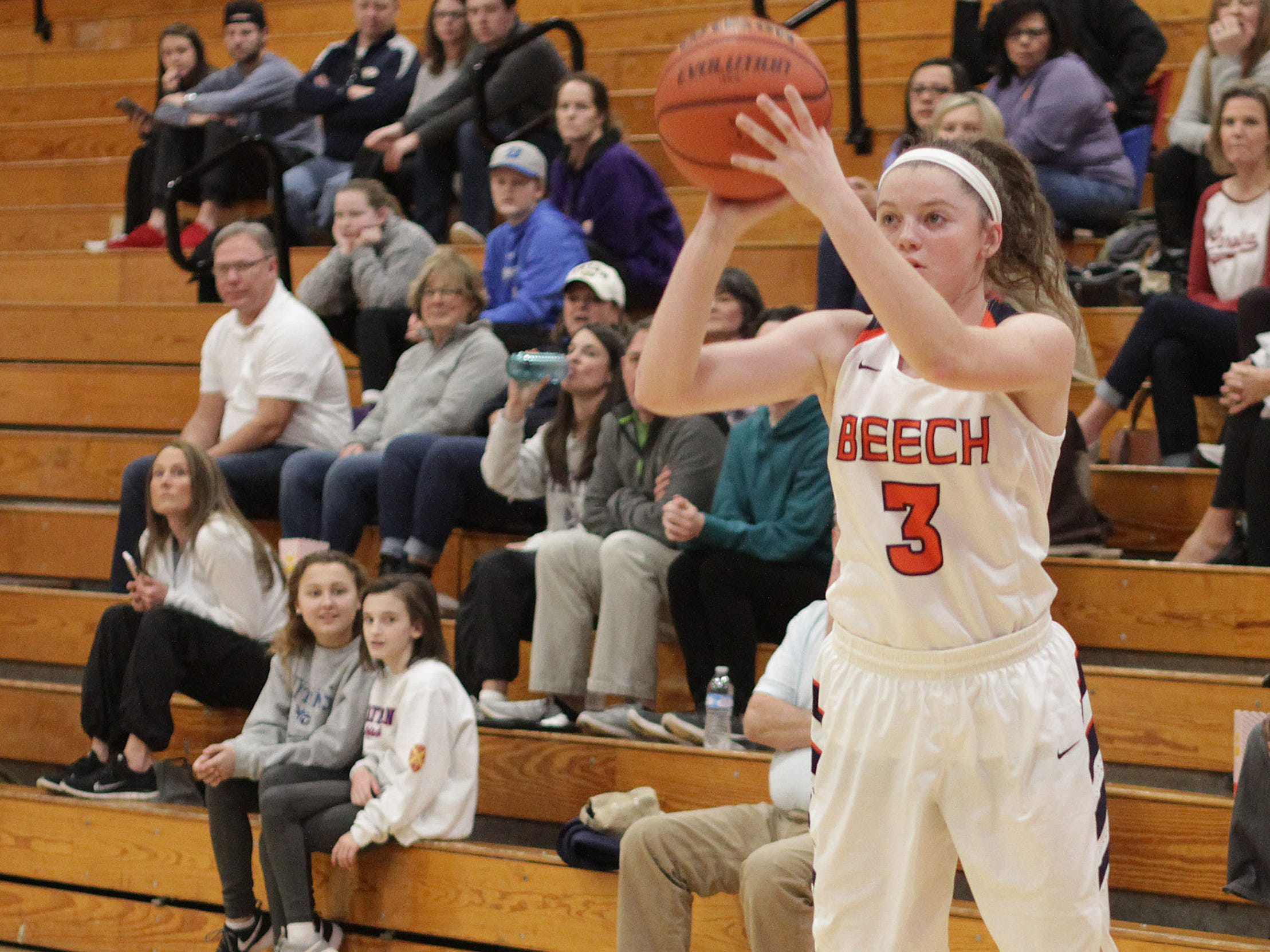 Beech's Jana Claire Swafford shoots for three against Father Ryan on Saturday, December 29, 2018.