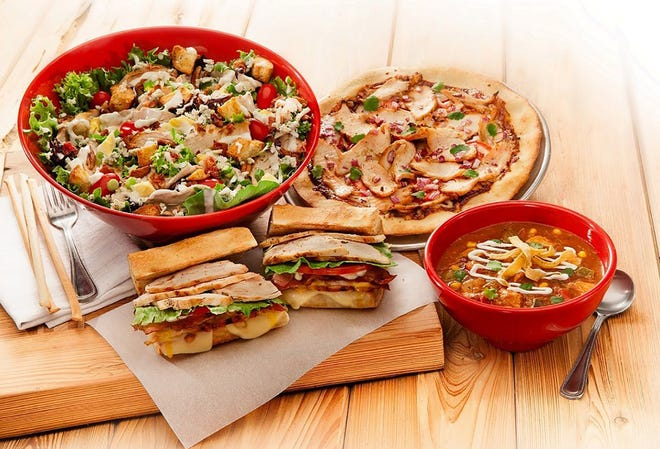 Dishes of healthy comfort food.