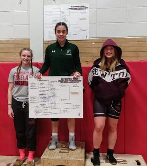 Haley Perez of DePaul won the 127-pound championship at the Bloomfield Holiday Wrestling Tournament.