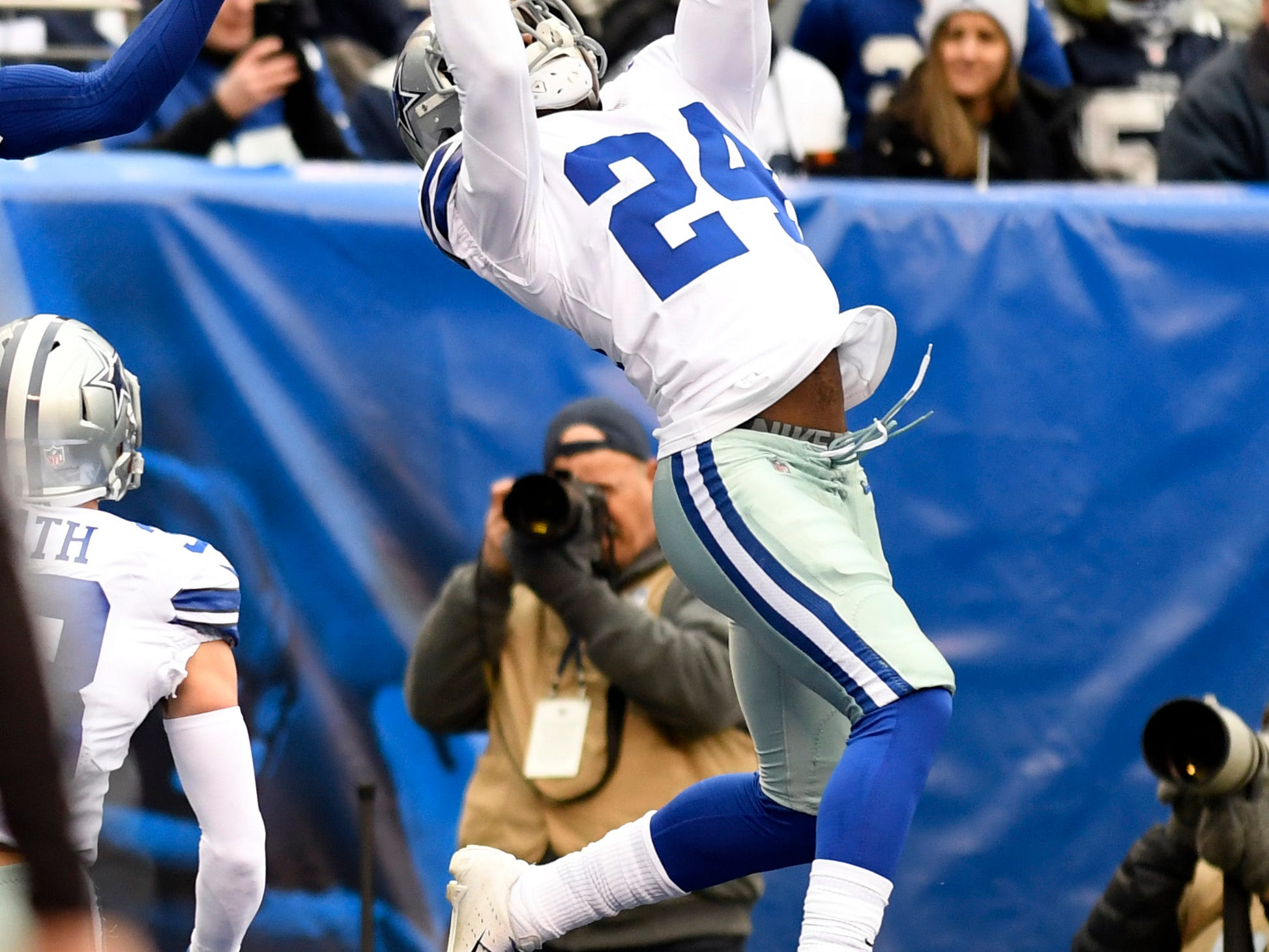 Dallas Cowboys cornerback Chidobe Awuzie (24) intercepts a pass intended for Giants wide receiver Sterling Shepard (not pictured) in the first half. The New York Giants face the Dallas Cowboys in the last regular season game on Sunday, Dec. 30, 2018, in East Rutherford.
