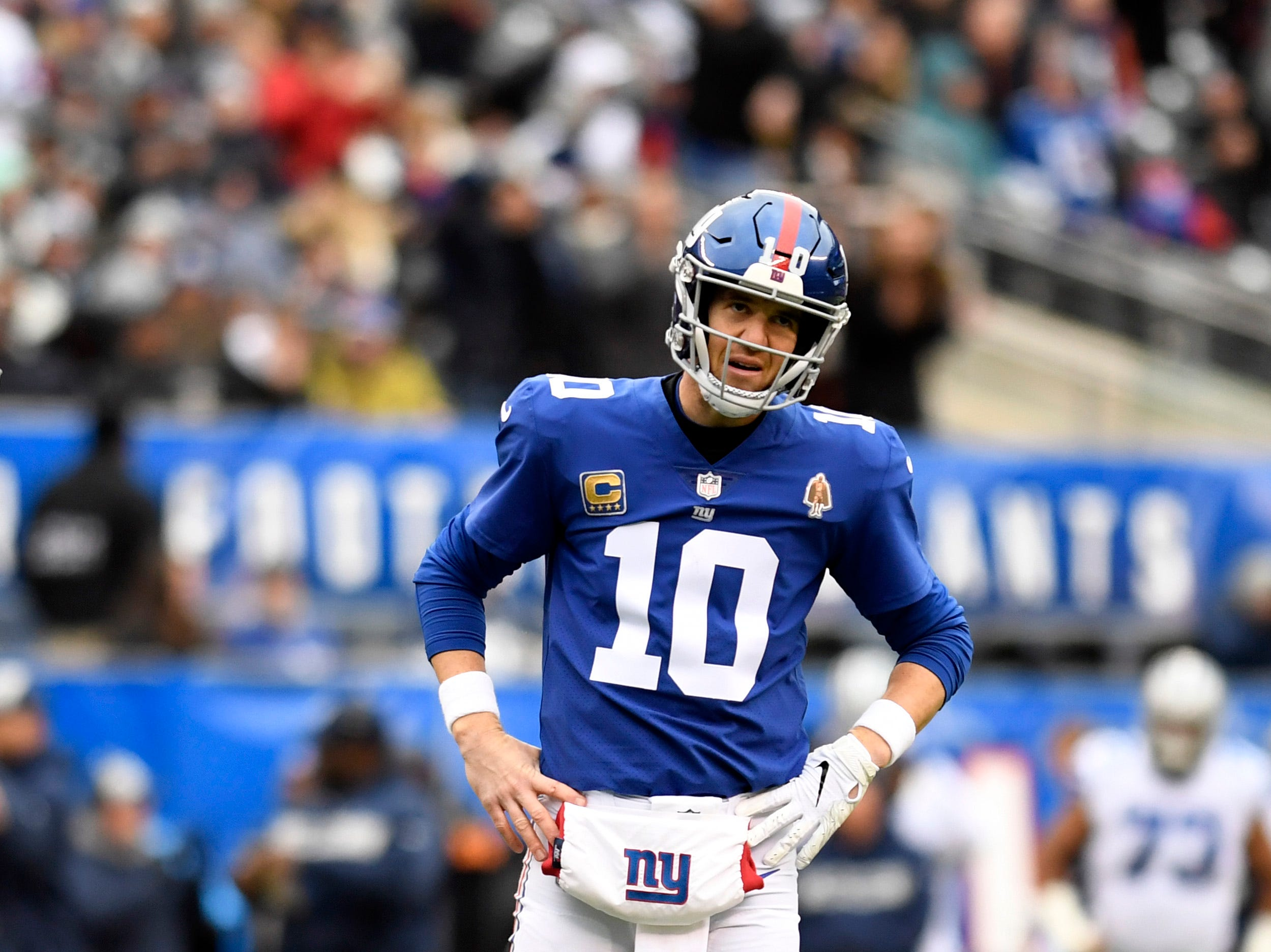 New York Giants quarterback Eli Manning (10) reacts after throwing an interception in the endzone in the first drive of the game. The New York Giants face the Dallas Cowboys in the last regular season game on Sunday, Dec. 30, 2018, in East Rutherford.