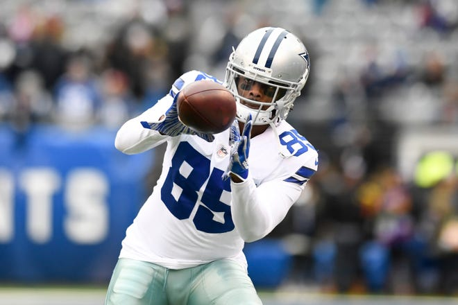 Dallas Cowboys wide receiver Noah Brown (85) catches the ball during warmups. The New York Giants face the Dallas Cowboys in the last regular season game on Sunday, Dec. 30, 2018, in East Rutherford.